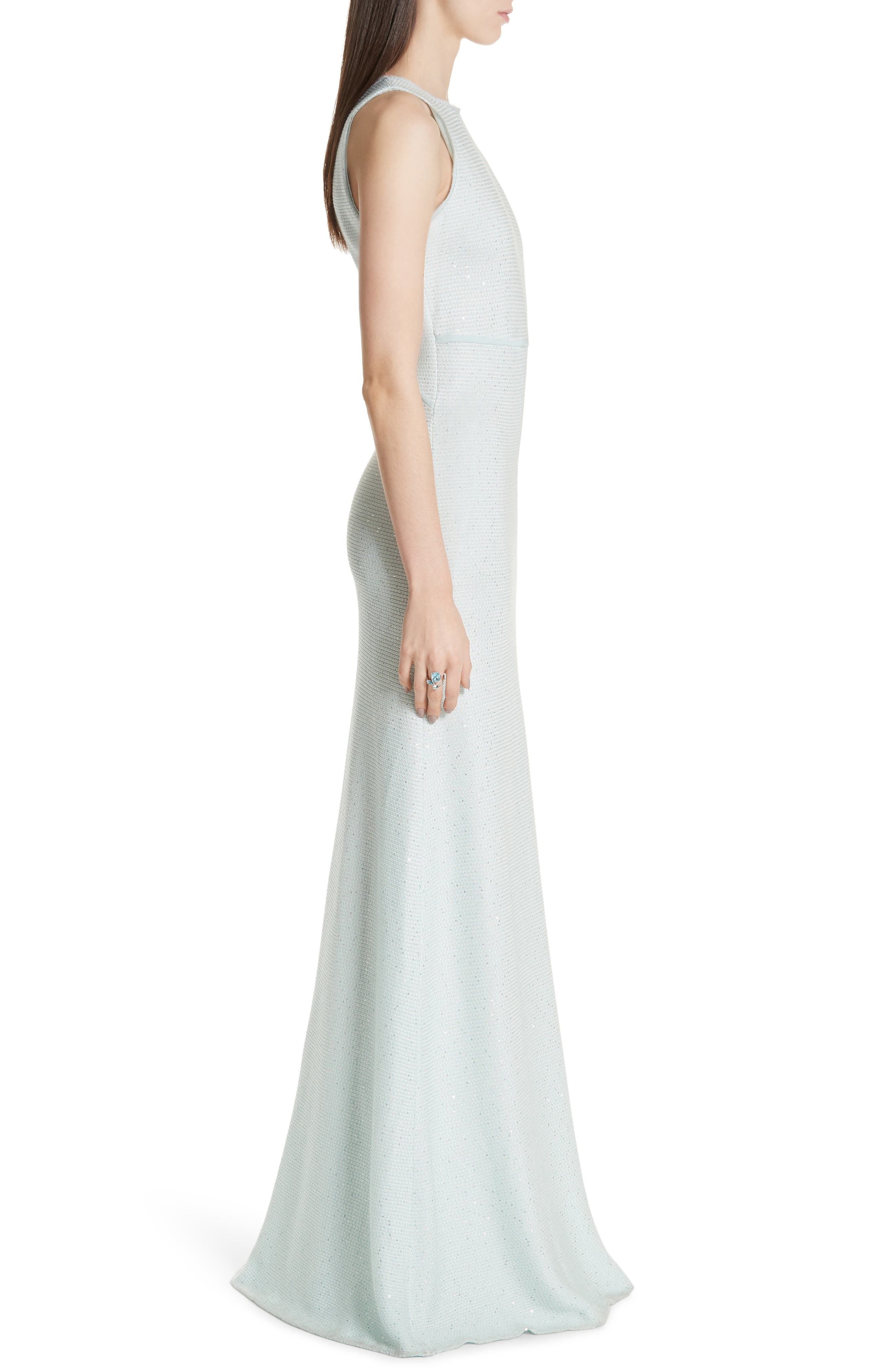 ST. JOHN COLLECTION,                             Links Sequin Knit Gown,                             Alternate thumbnail 3, color,                             OPAL