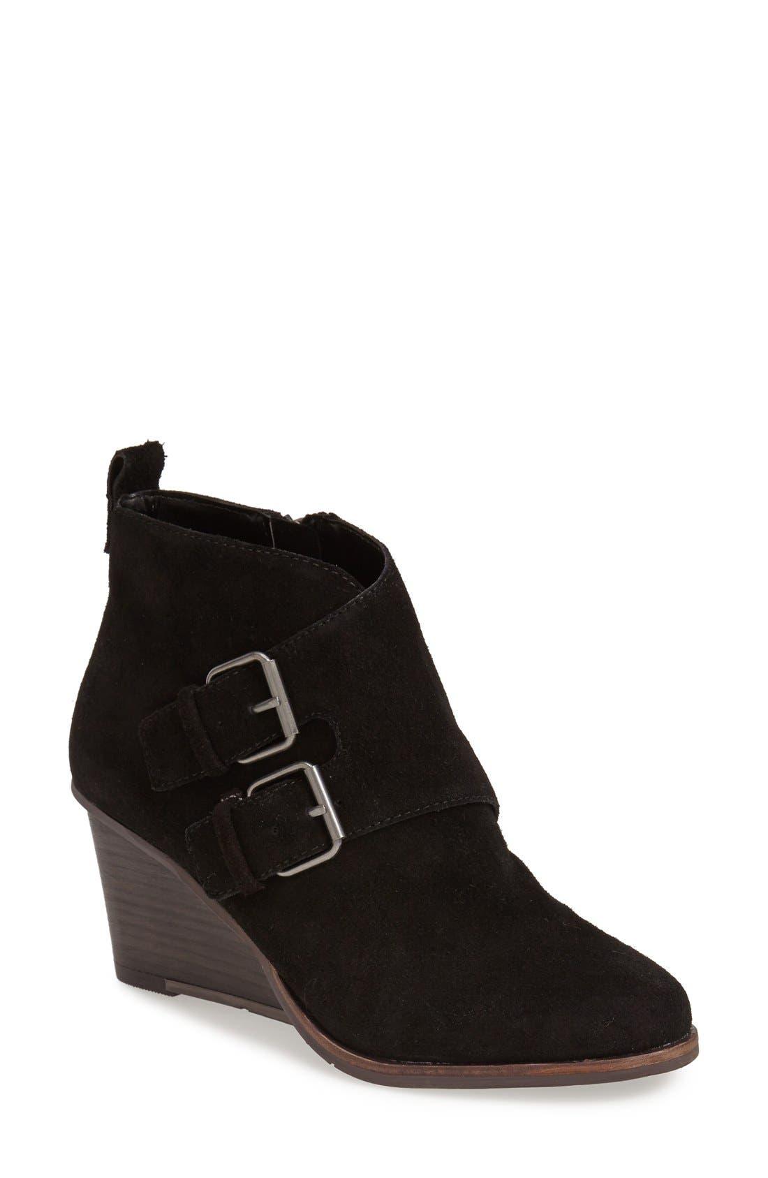 DV Footwear 'Fabian' Monk Strap Wedge Bootie, Main, color, 001