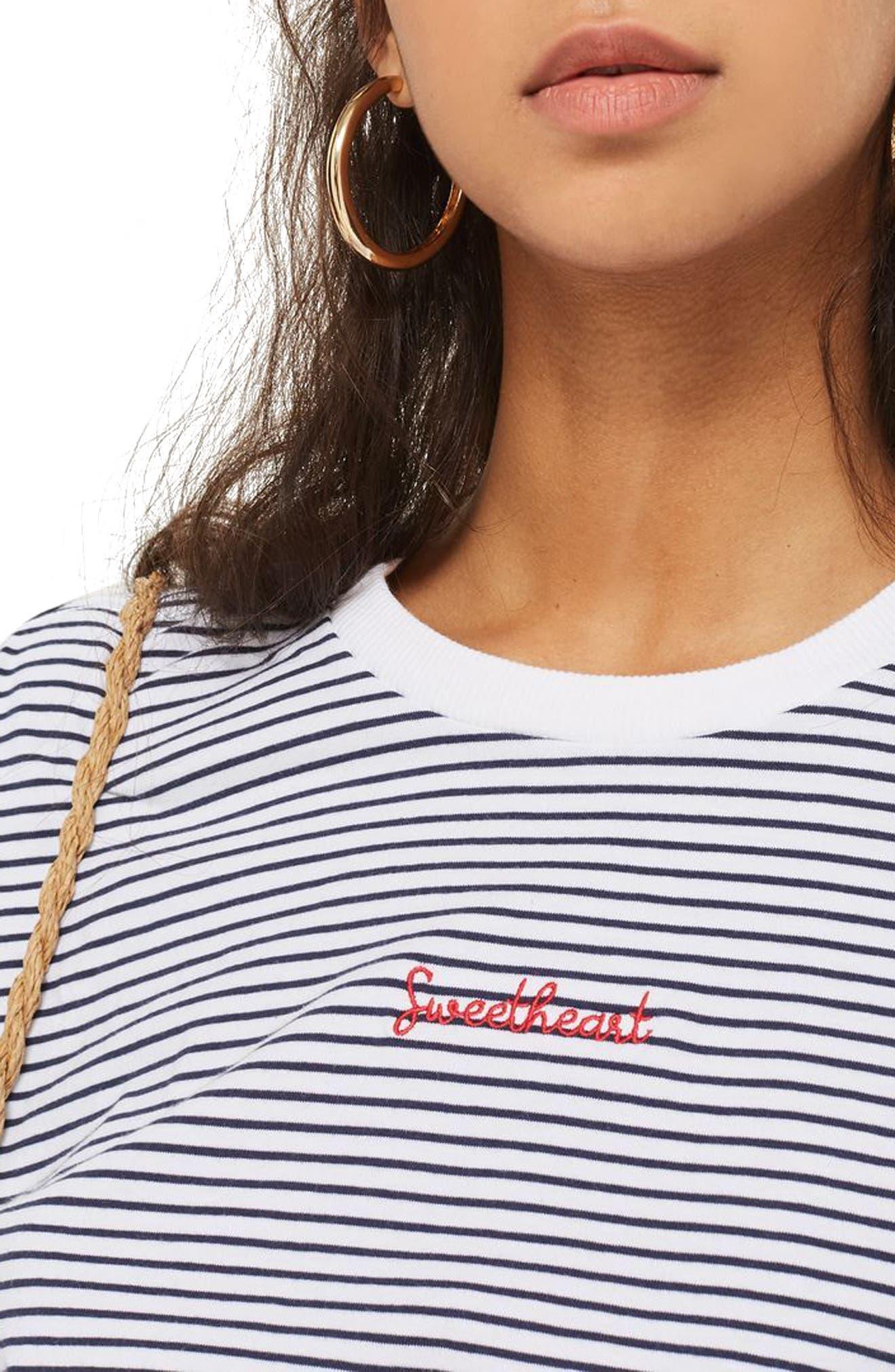 Petite Stripe Sweetheart T-Shirt,                             Alternate thumbnail 3, color,                             100