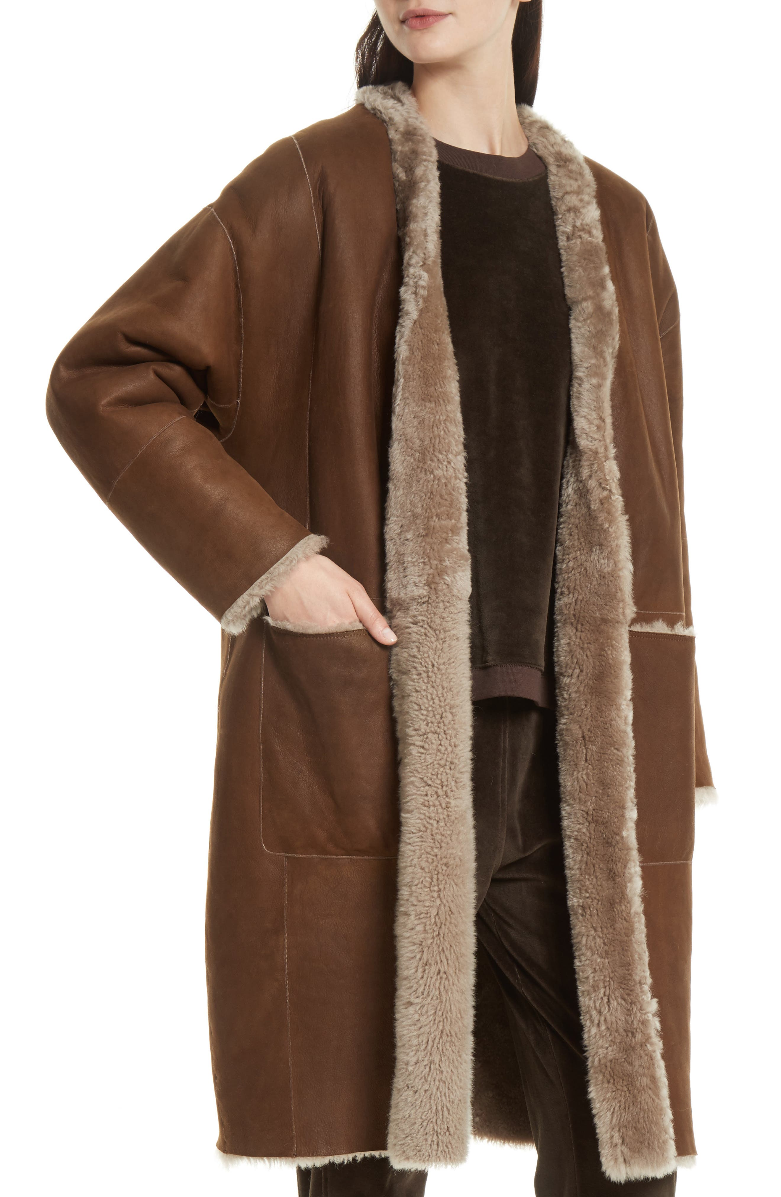 Genuine Shearling Reversible Coat,                             Alternate thumbnail 2, color,                             208