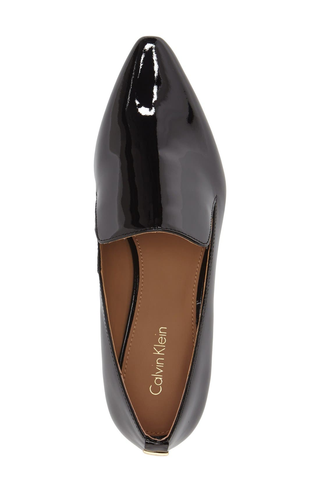 'Elin' Pointy Toe Loafer,                             Alternate thumbnail 4, color,                             BLACK PATENT