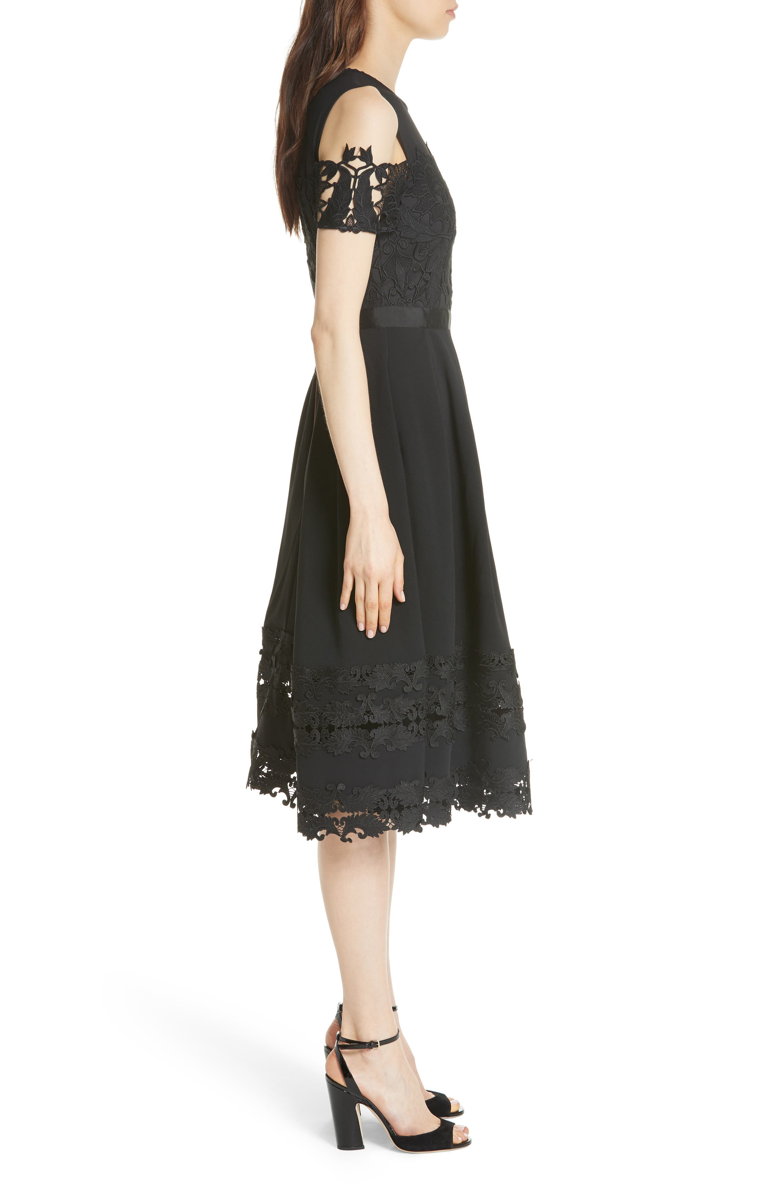 Structured Lace Cold Shoulder Midi Dress,                             Alternate thumbnail 3, color,                             001