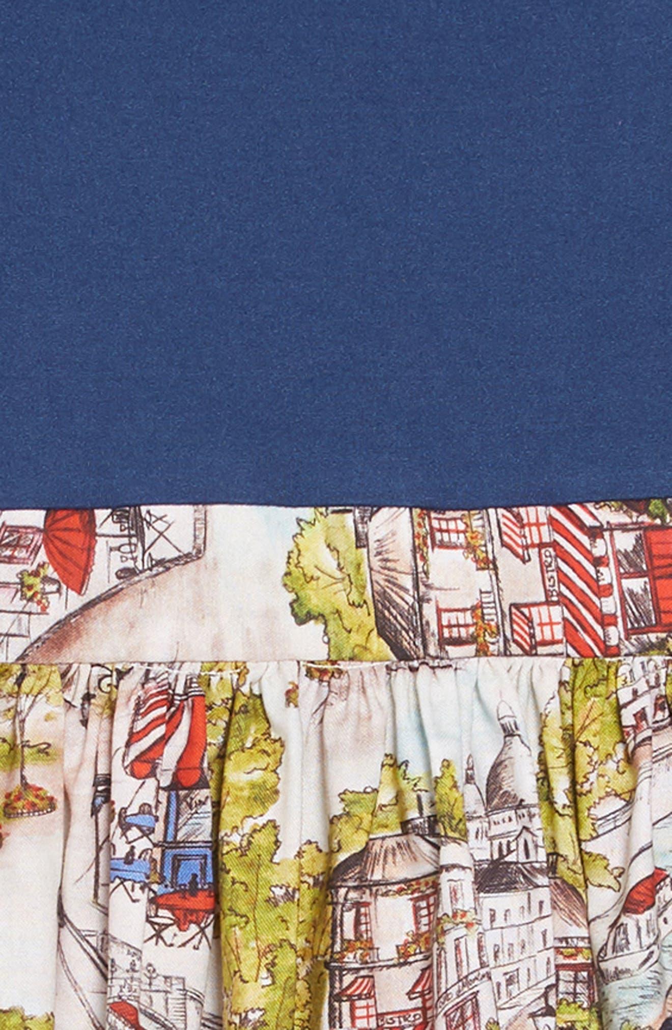Print A-Line Dress,                             Alternate thumbnail 3, color,                             BLUE