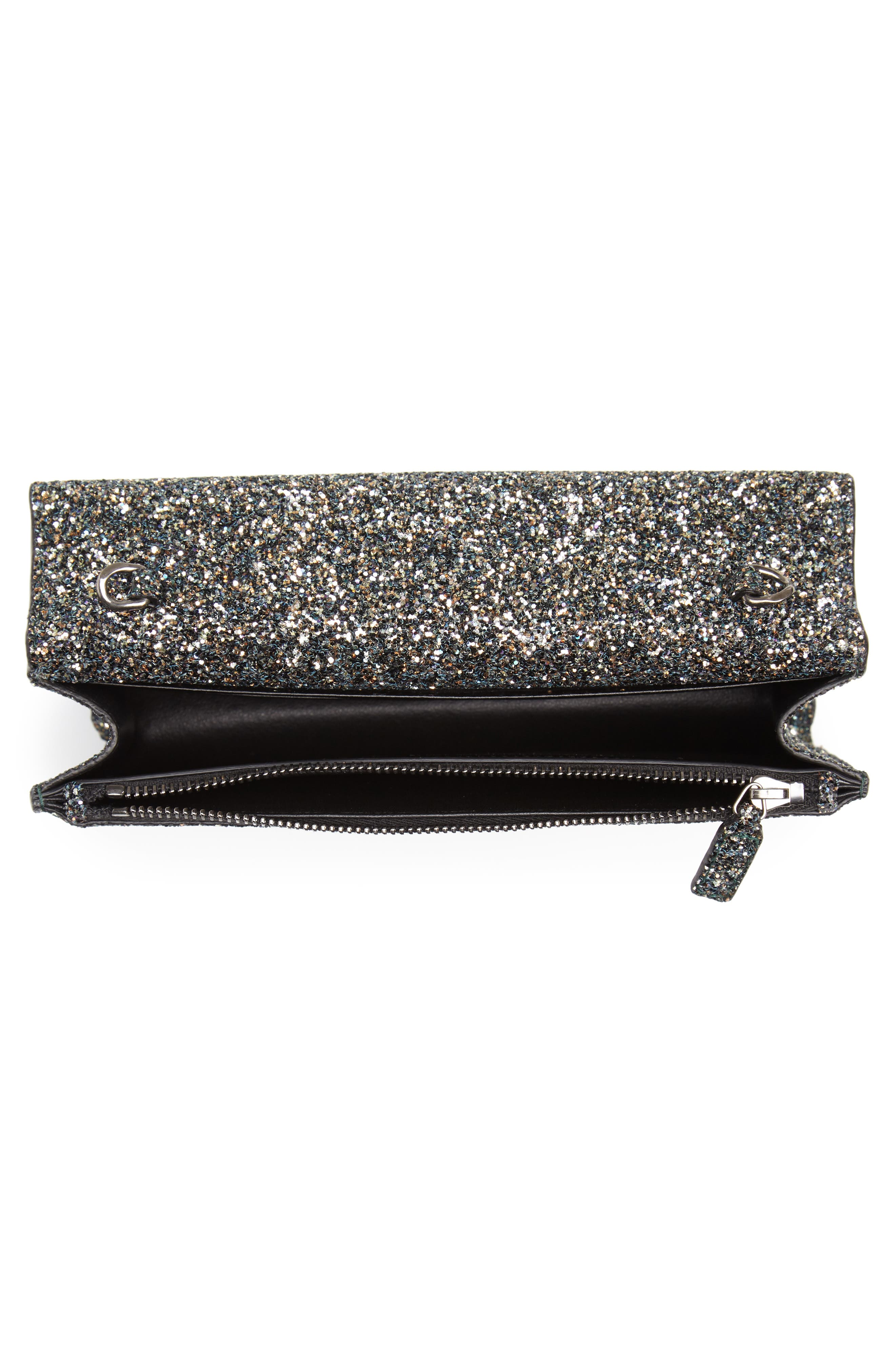 Kate Glitter Wallet on a Chain,                             Alternate thumbnail 5, color,                             OLIVE/ NERO