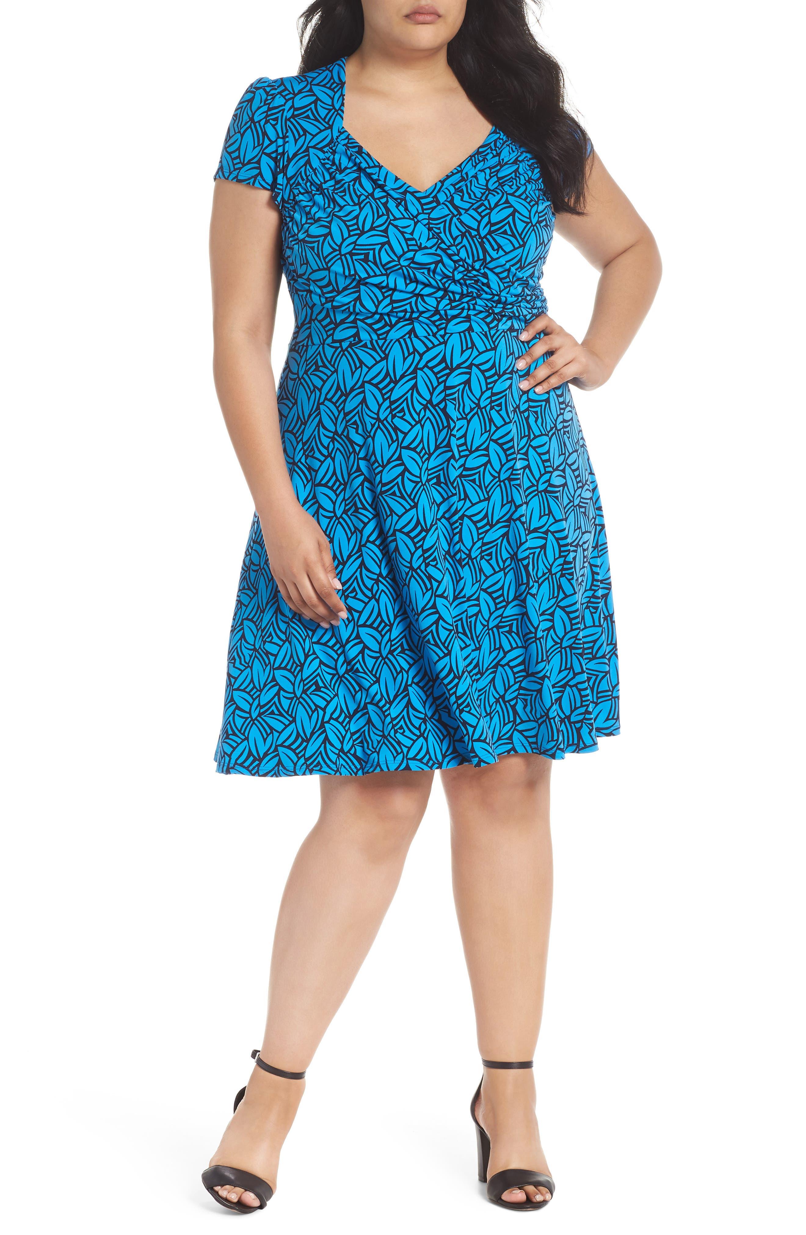 Faux Wrap Jersey Dress,                             Main thumbnail 1, color,                             FORGE BLITHE