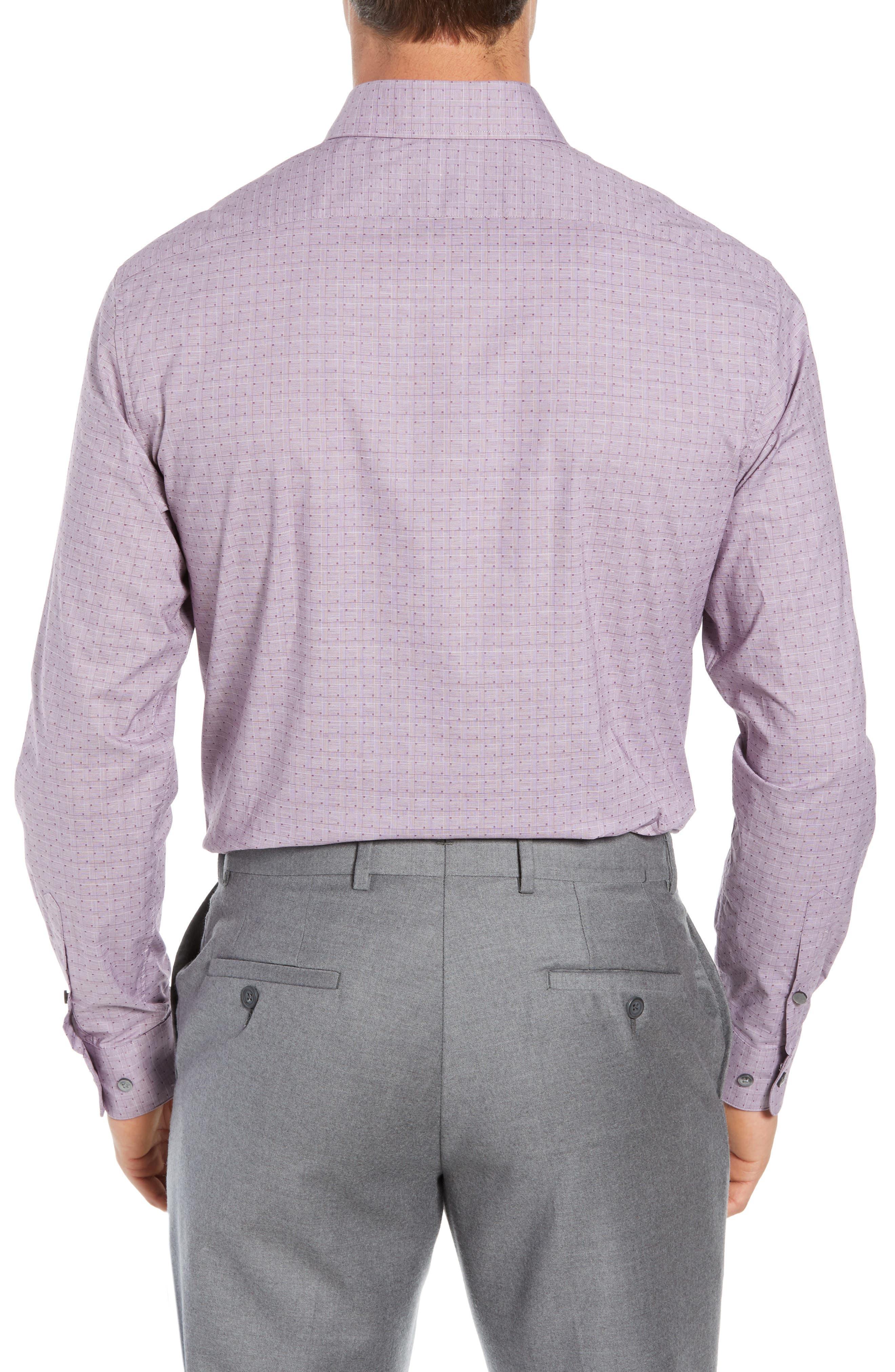 Regular Fit Stretch Check Dress Shirt,                             Alternate thumbnail 3, color,                             WINE