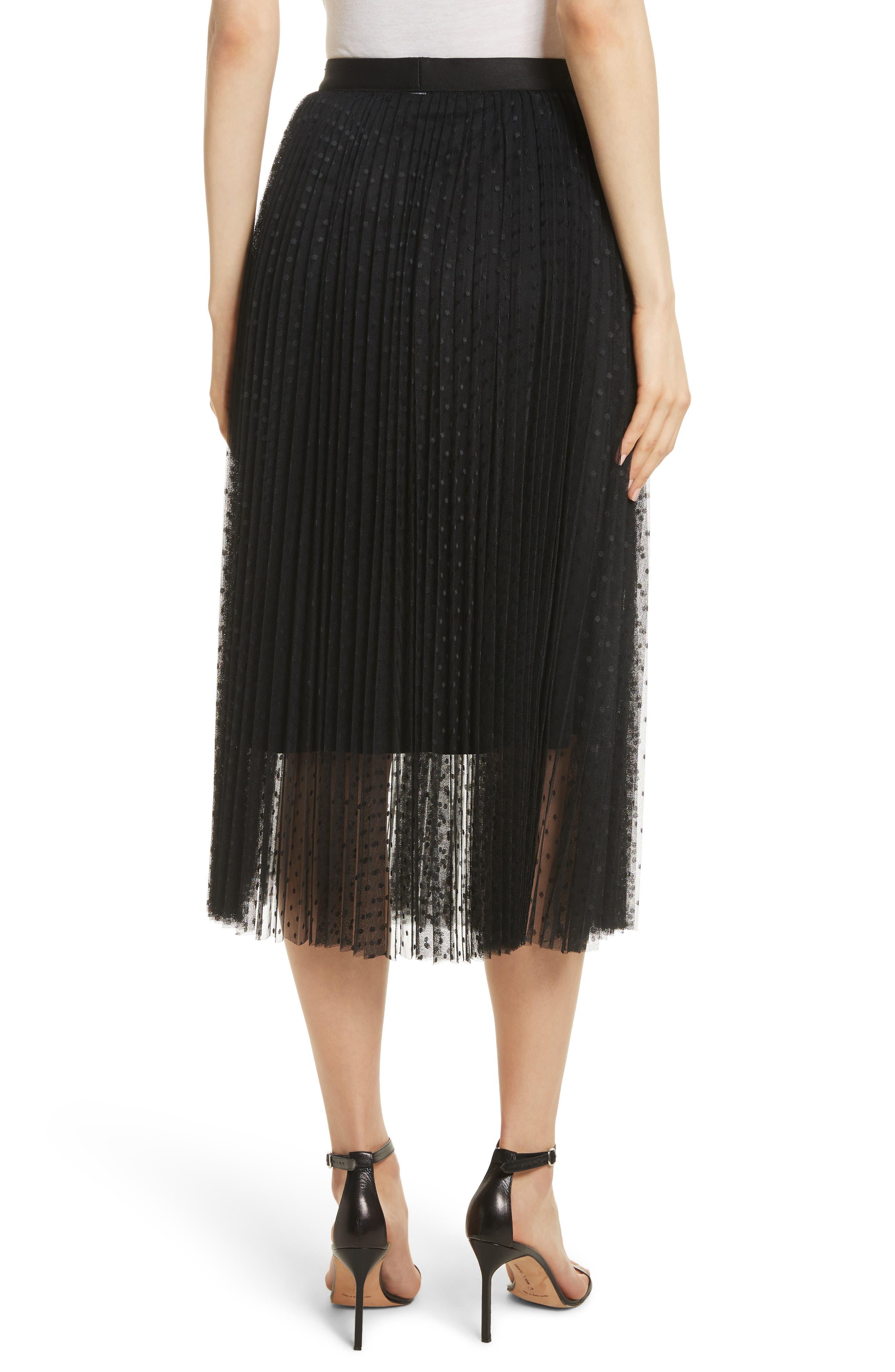 Pleated Polka Dot Mesh Midi Skirt,                             Alternate thumbnail 2, color,                             001