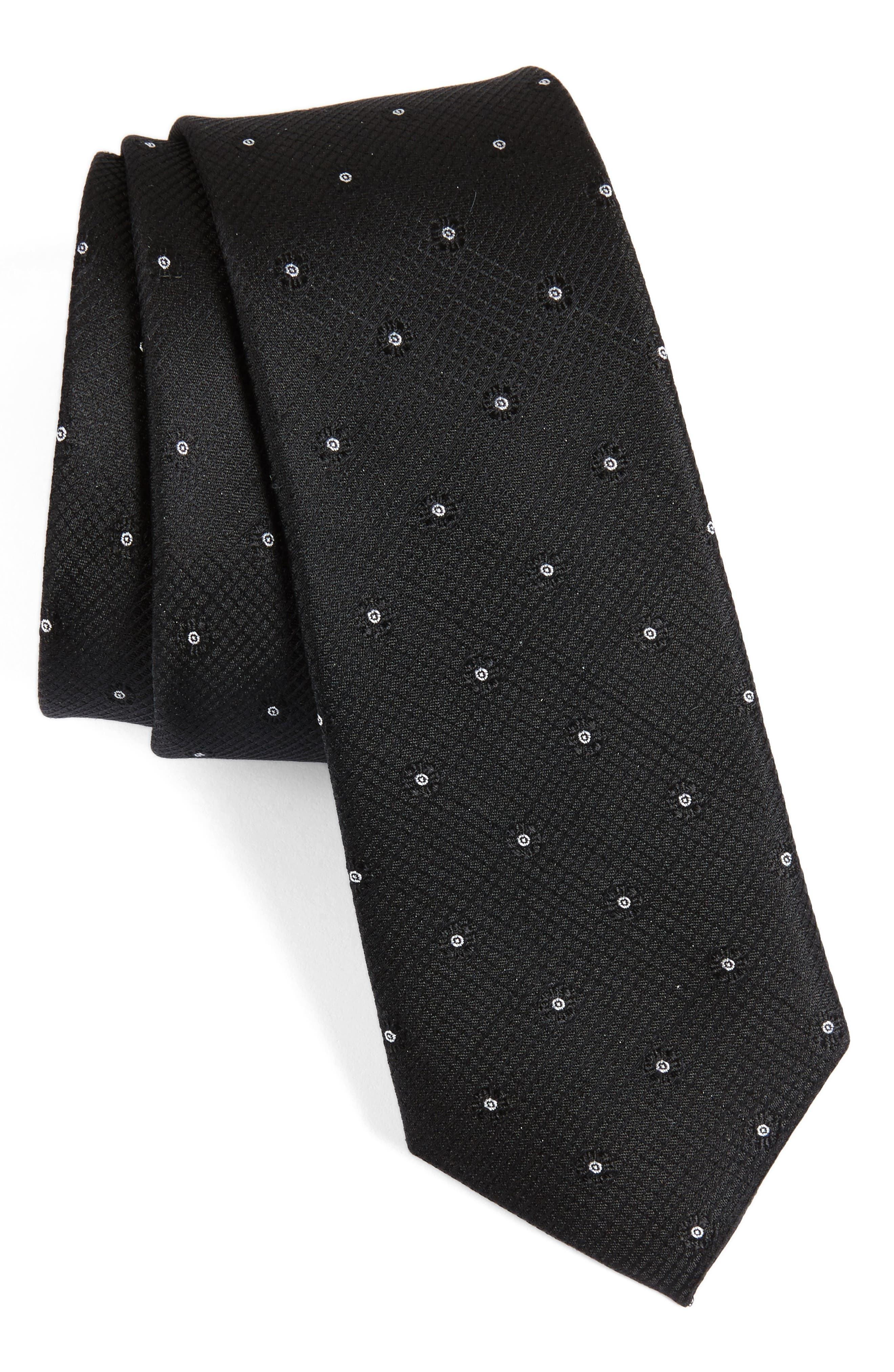 Fleur Medallion Silk Skinny Tie,                             Main thumbnail 3, color,