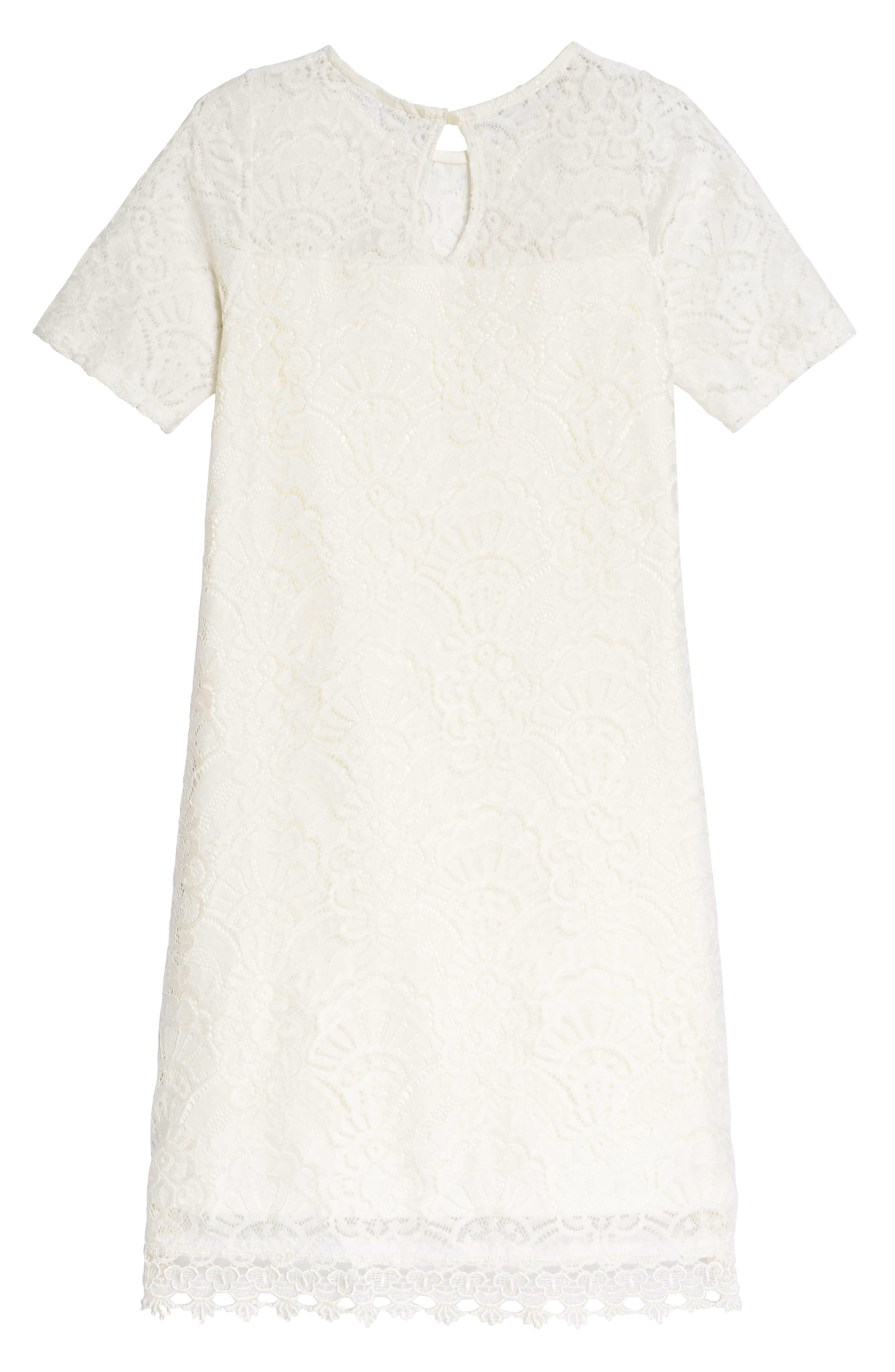 Lace Panel Shift Dress,                             Alternate thumbnail 2, color,                             100
