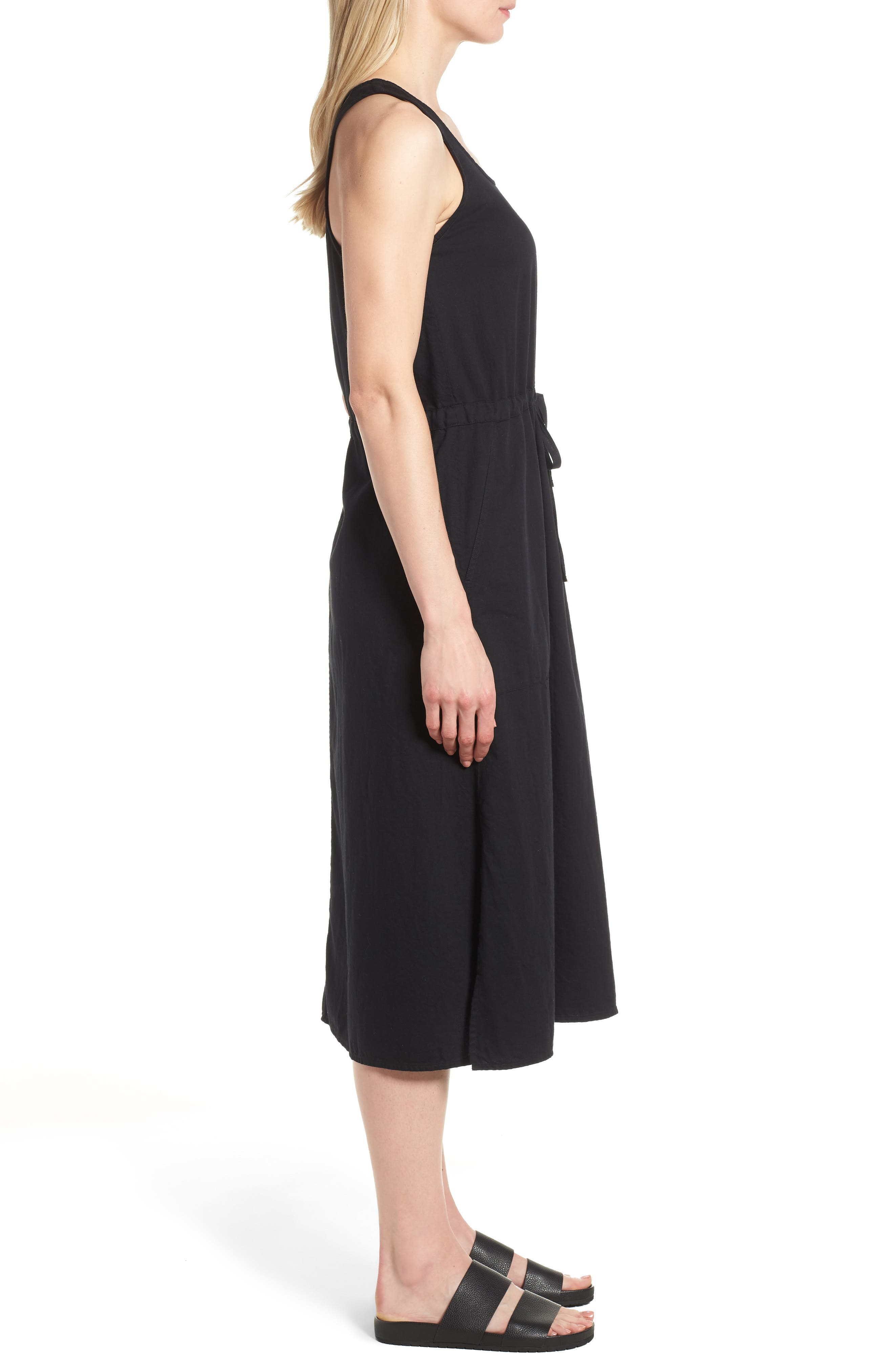 Drawstring Organic Cotton Midi Dress,                             Alternate thumbnail 3, color,                             001