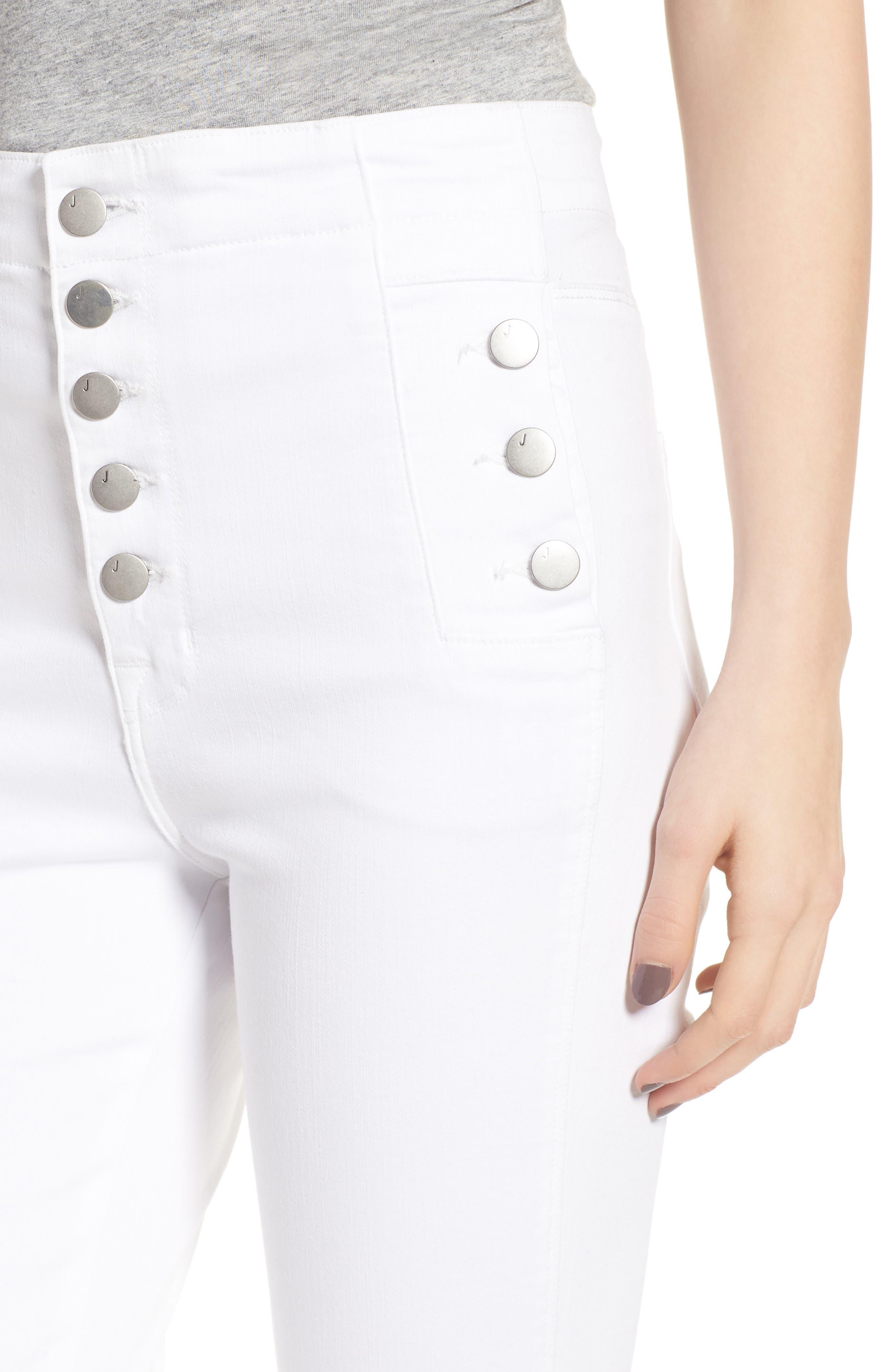 Natasha Sky High Super Skinny Jeans,                             Alternate thumbnail 4, color,                             WHITE