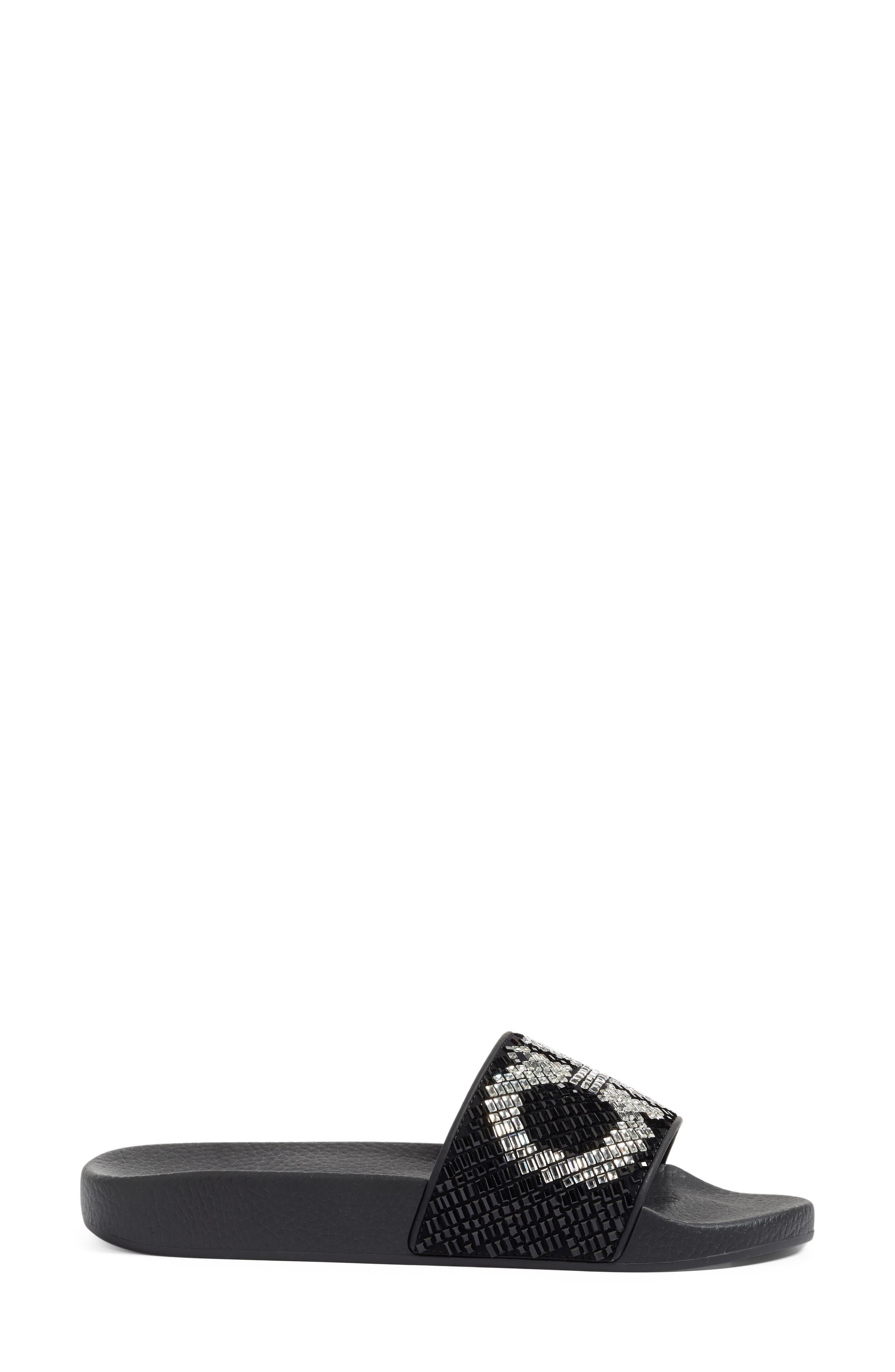 Crystal Logo Slide Sandal,                             Alternate thumbnail 3, color,                             001