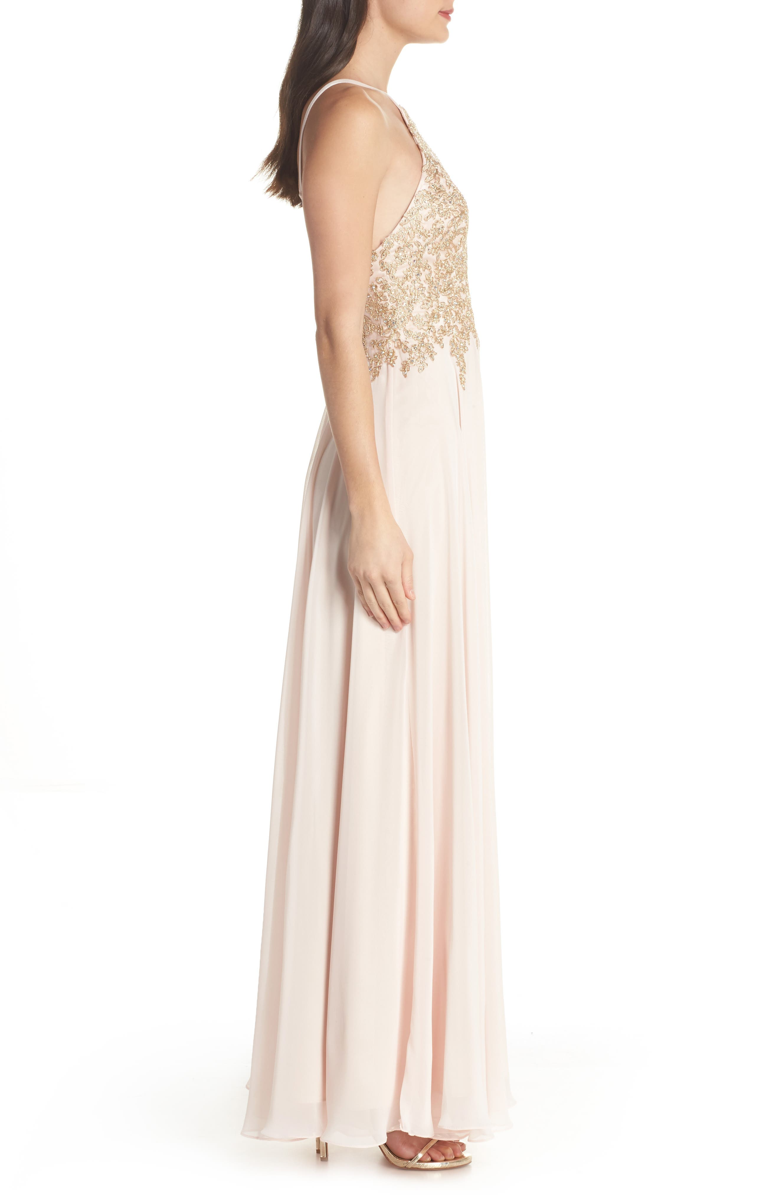 Embroidered Chiffon Halter Dress,                             Alternate thumbnail 3, color,                             BLUSH/ GOLD
