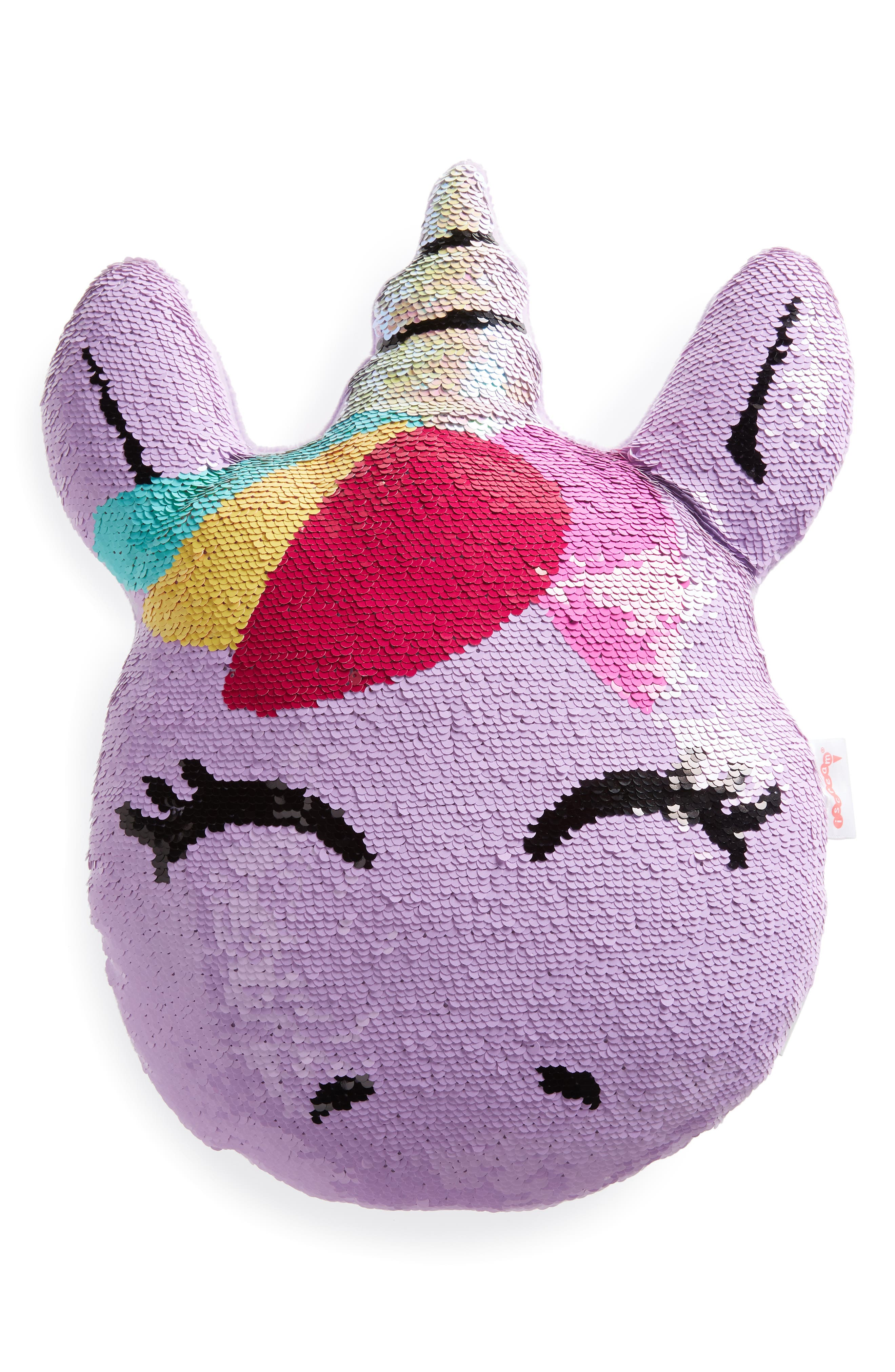 Unicorn Reversible Sequin Pillow,                         Main,                         color, PINK