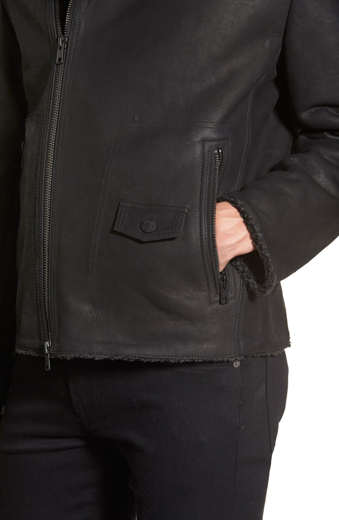 Leather Moto Jacket with Faux Shearling Lining,                             Alternate thumbnail 4, color,
