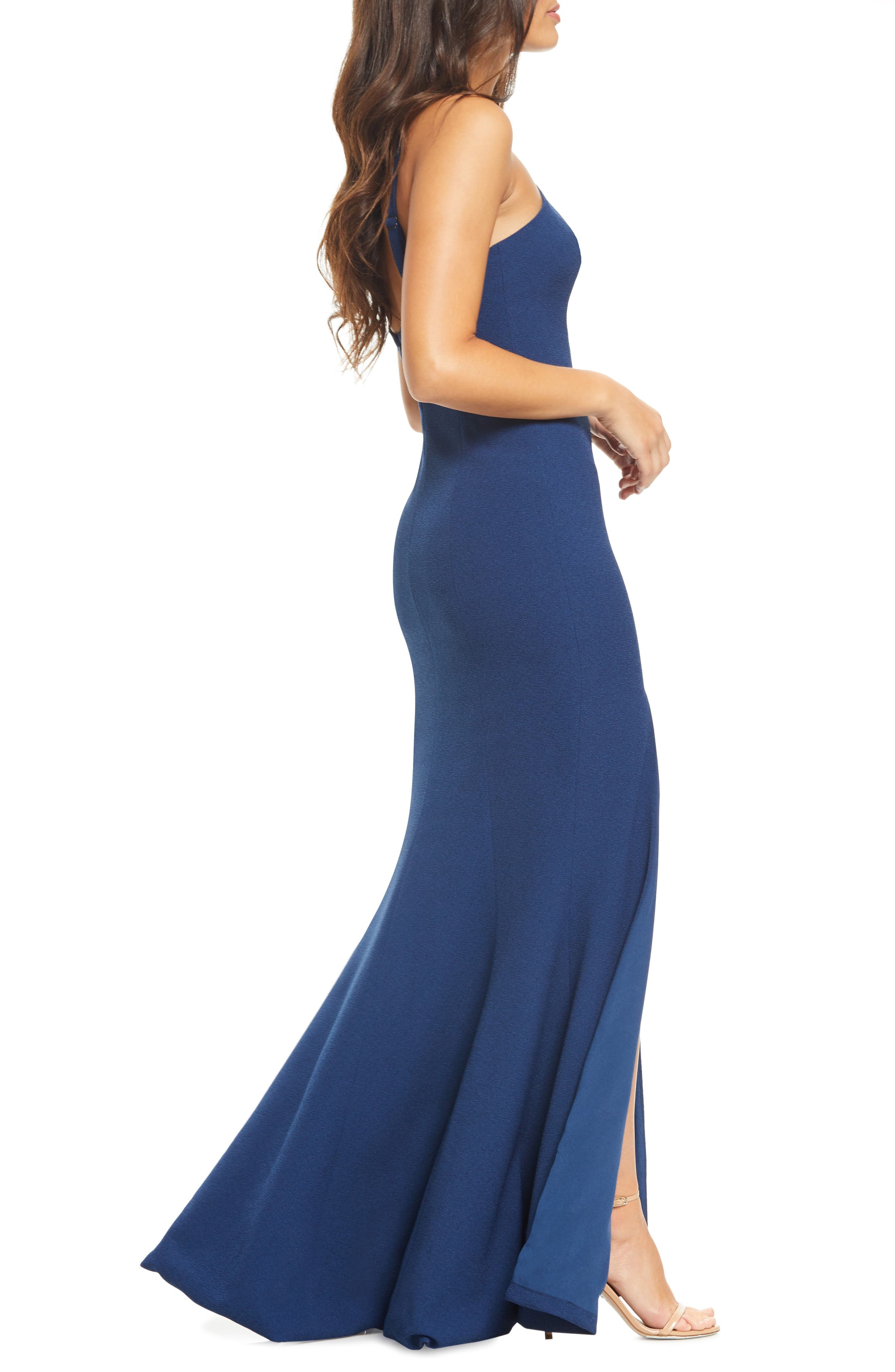 DRESS THE POPULATION,                             Brianna Halter Style Trumpet Gown,                             Alternate thumbnail 3, color,                             PACIFIC