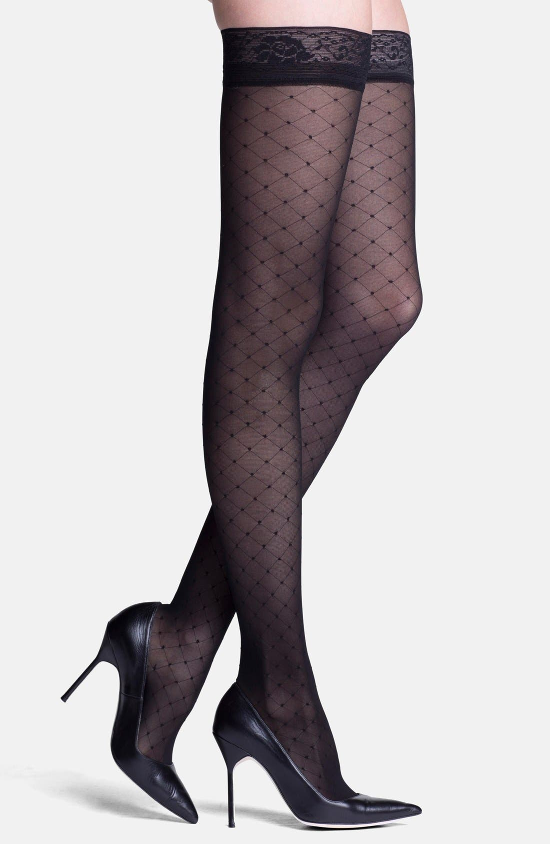 'Starlet' Diamond Pattern Compression Thigh Highs,                             Main thumbnail 1, color,                             BLACK