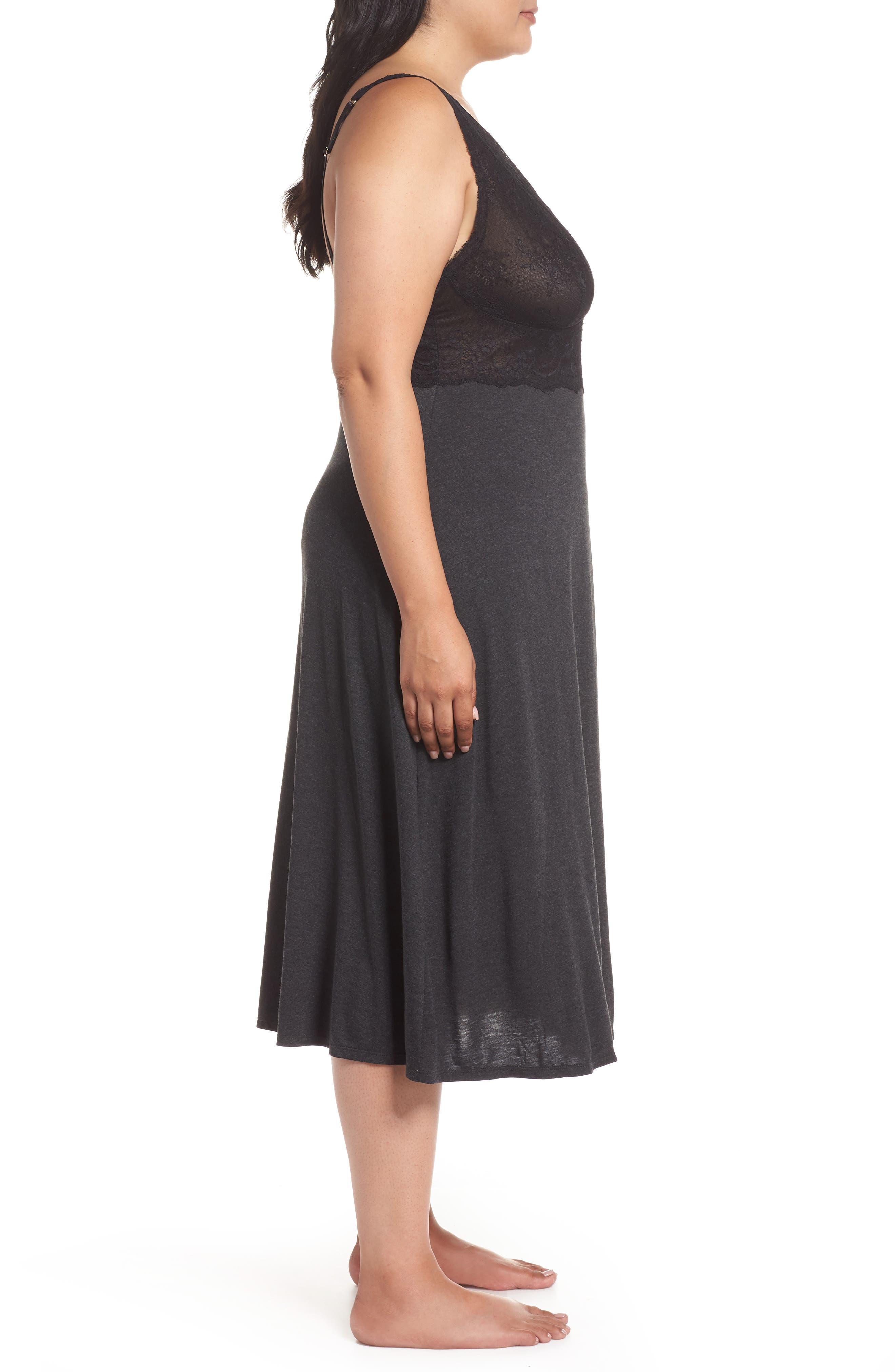 Luxe Shangri-La Nightgown,                             Alternate thumbnail 3, color,                             GREY WITH BLACK