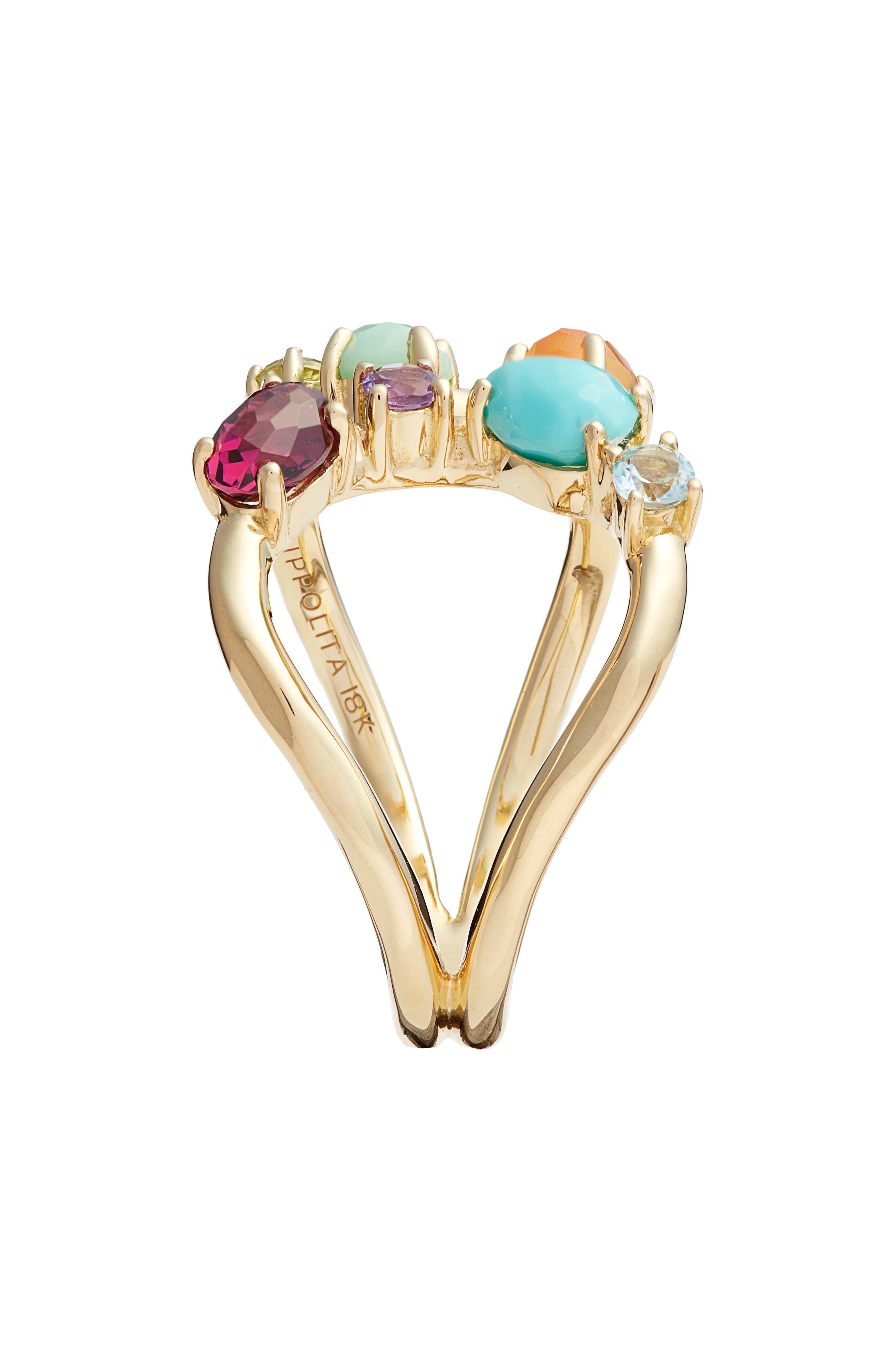 Rock Candy 18K Gold Open Ring,                             Alternate thumbnail 2, color,                             GOLD/ MULTI