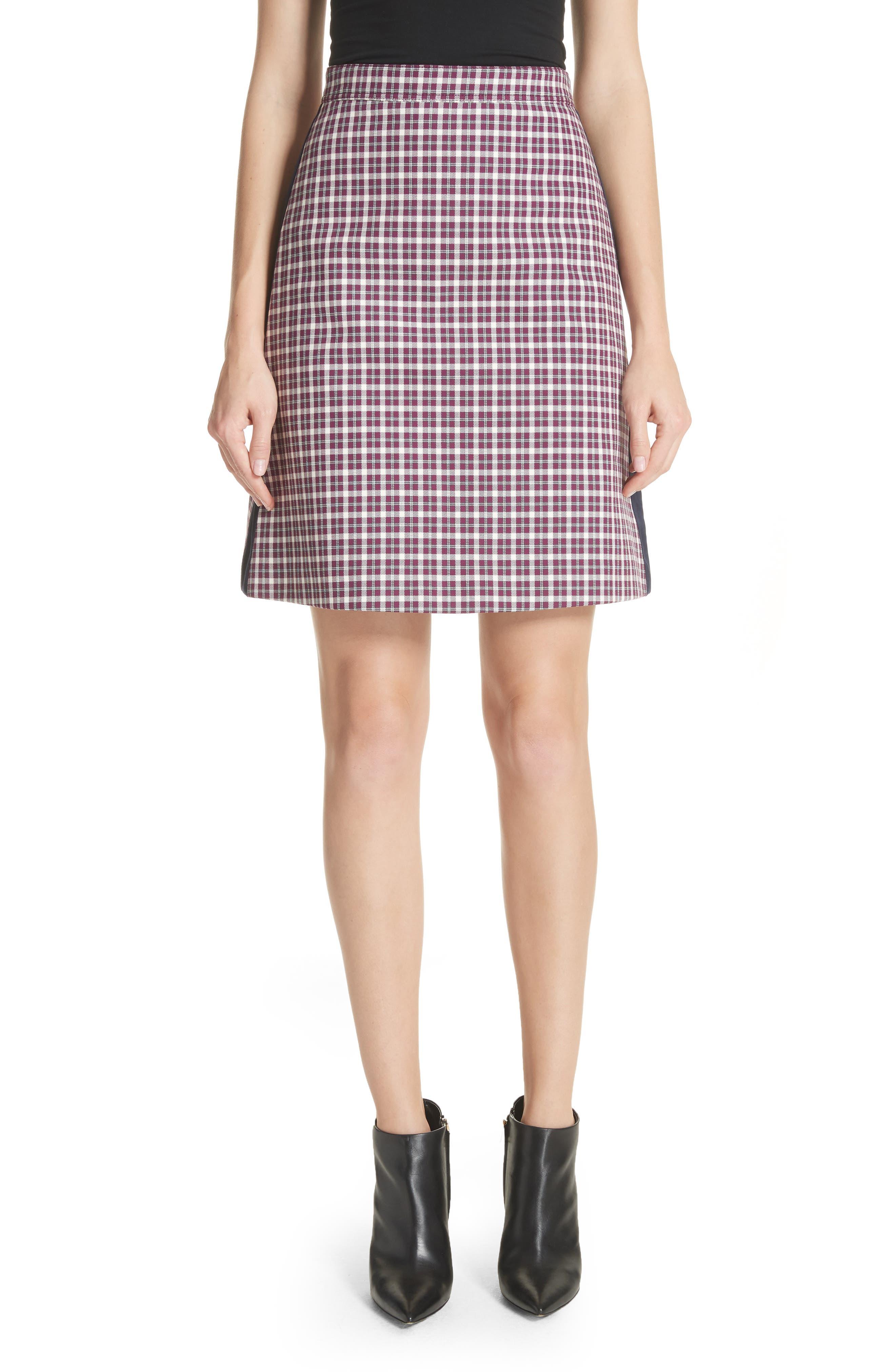 Stanforth Plaid A-Line Skirt,                             Main thumbnail 1, color,                             BURGUNDY