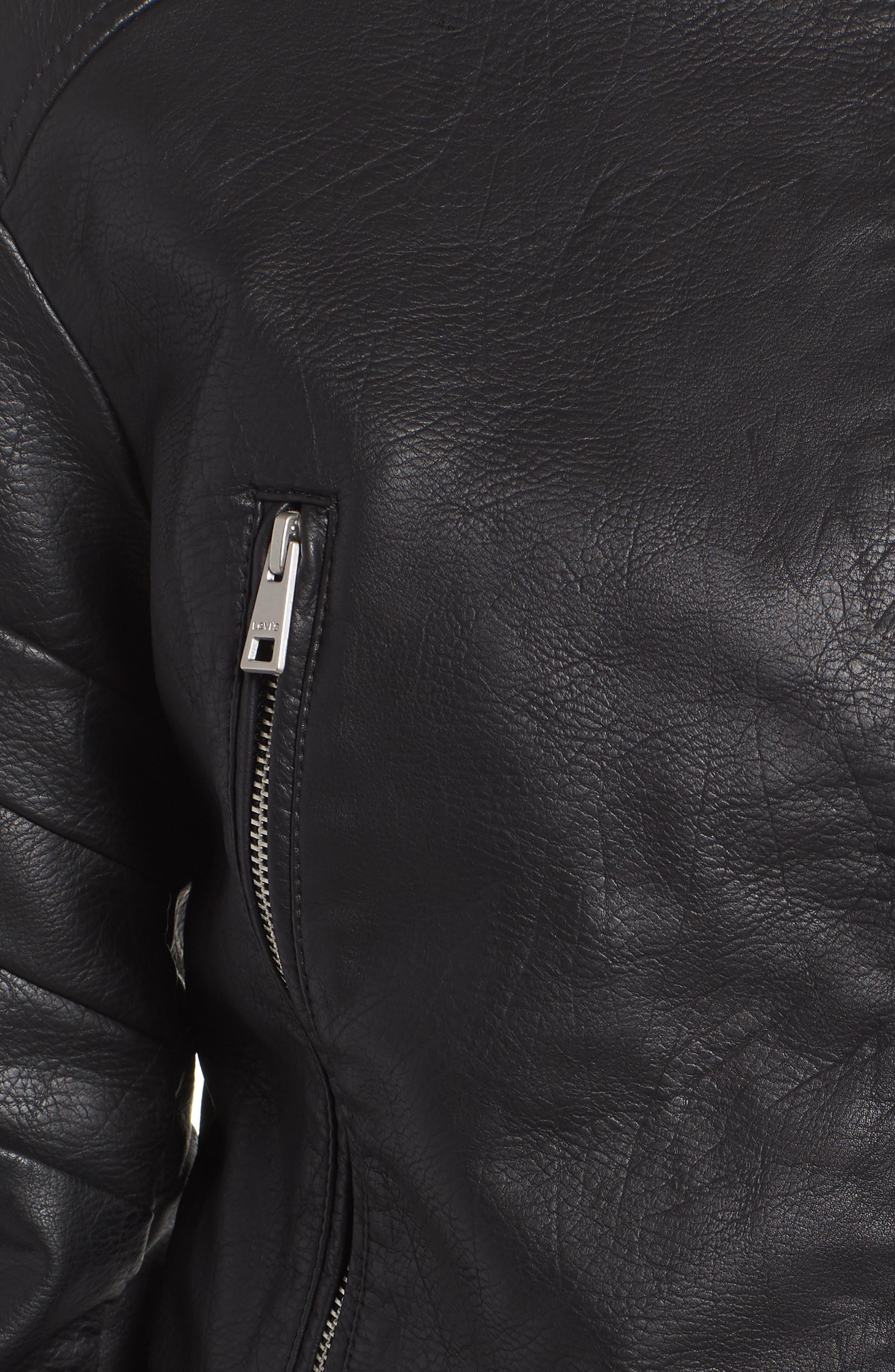 Faux Leather Moto Jacket,                             Alternate thumbnail 7, color,                             BLACK