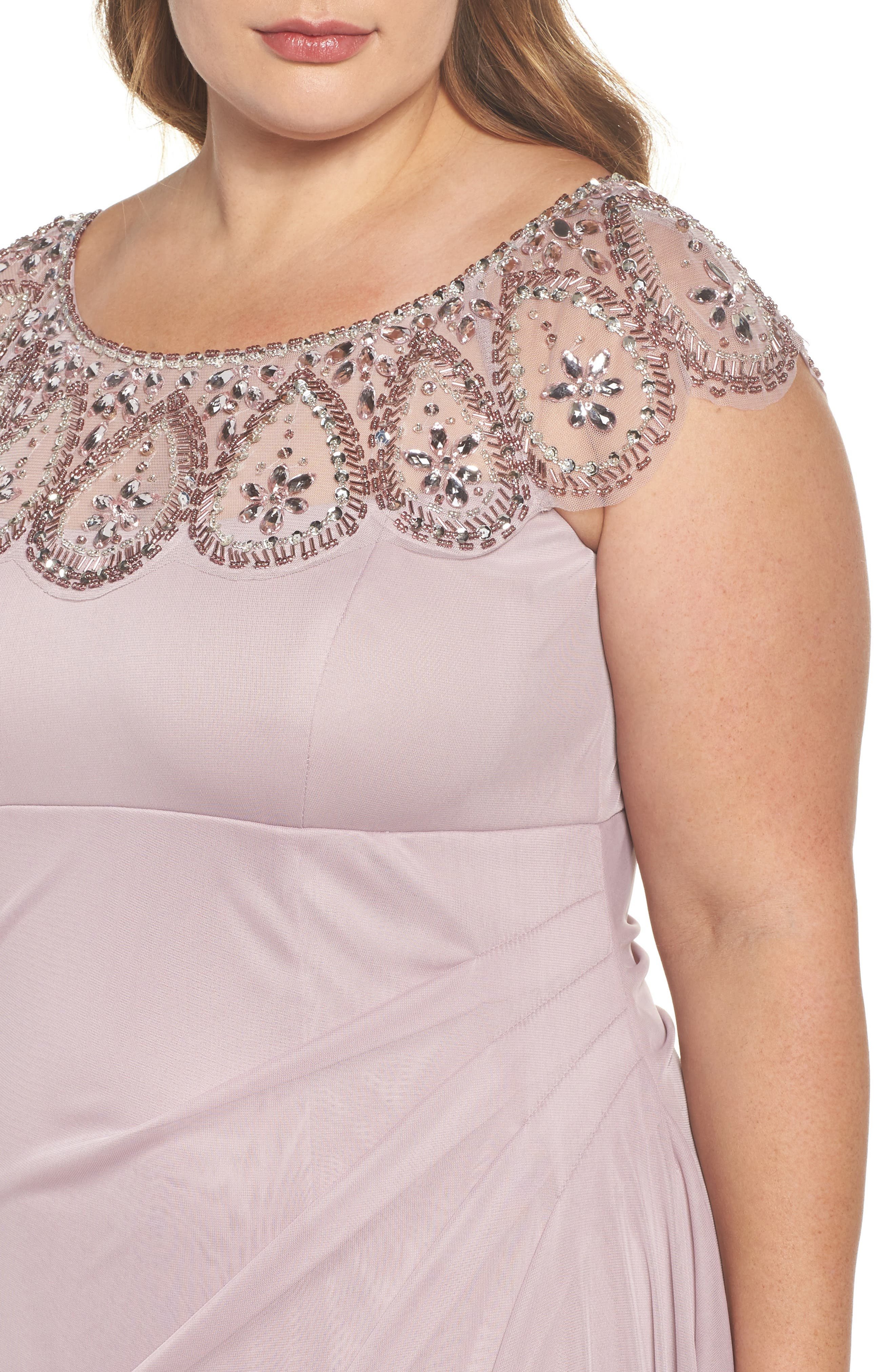 Beaded Neck Empire Gown,                             Alternate thumbnail 4, color,                             500