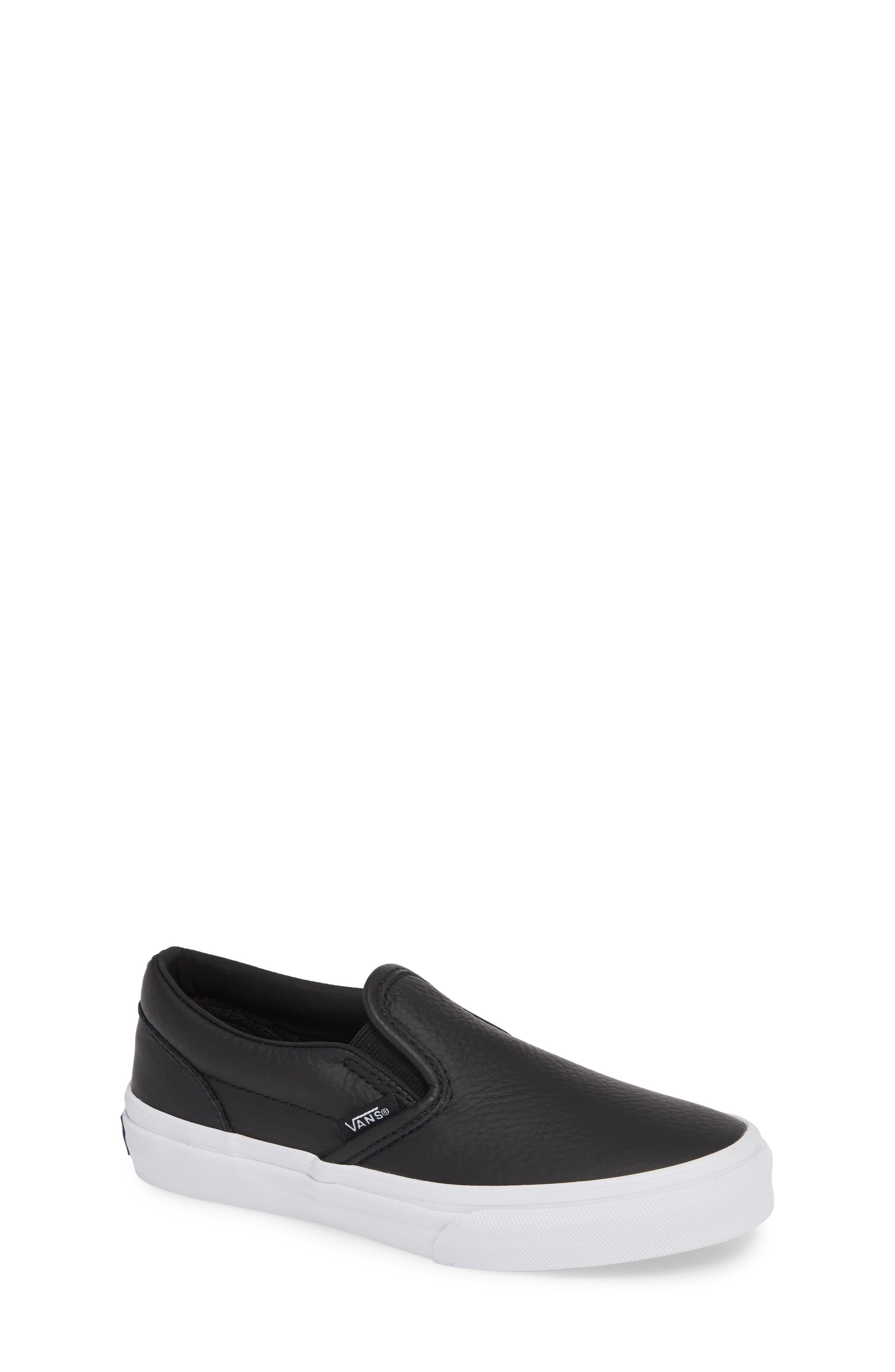 'Classic' Slip-On Sneaker,                         Main,                         color, BLACK/ TRUE WHITE LEATHER