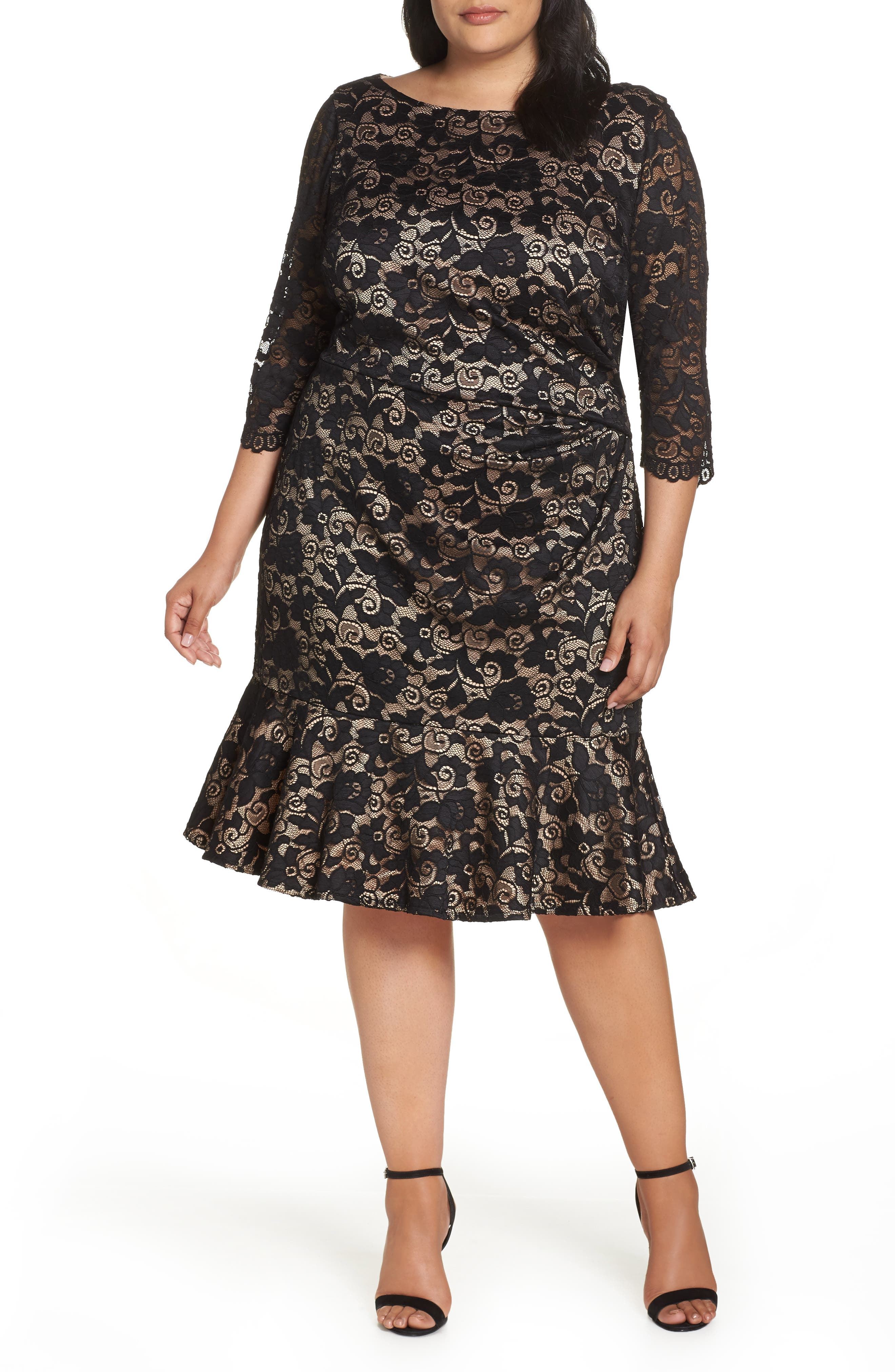 Flounce Hem Lace Dress,                             Main thumbnail 1, color,                             001