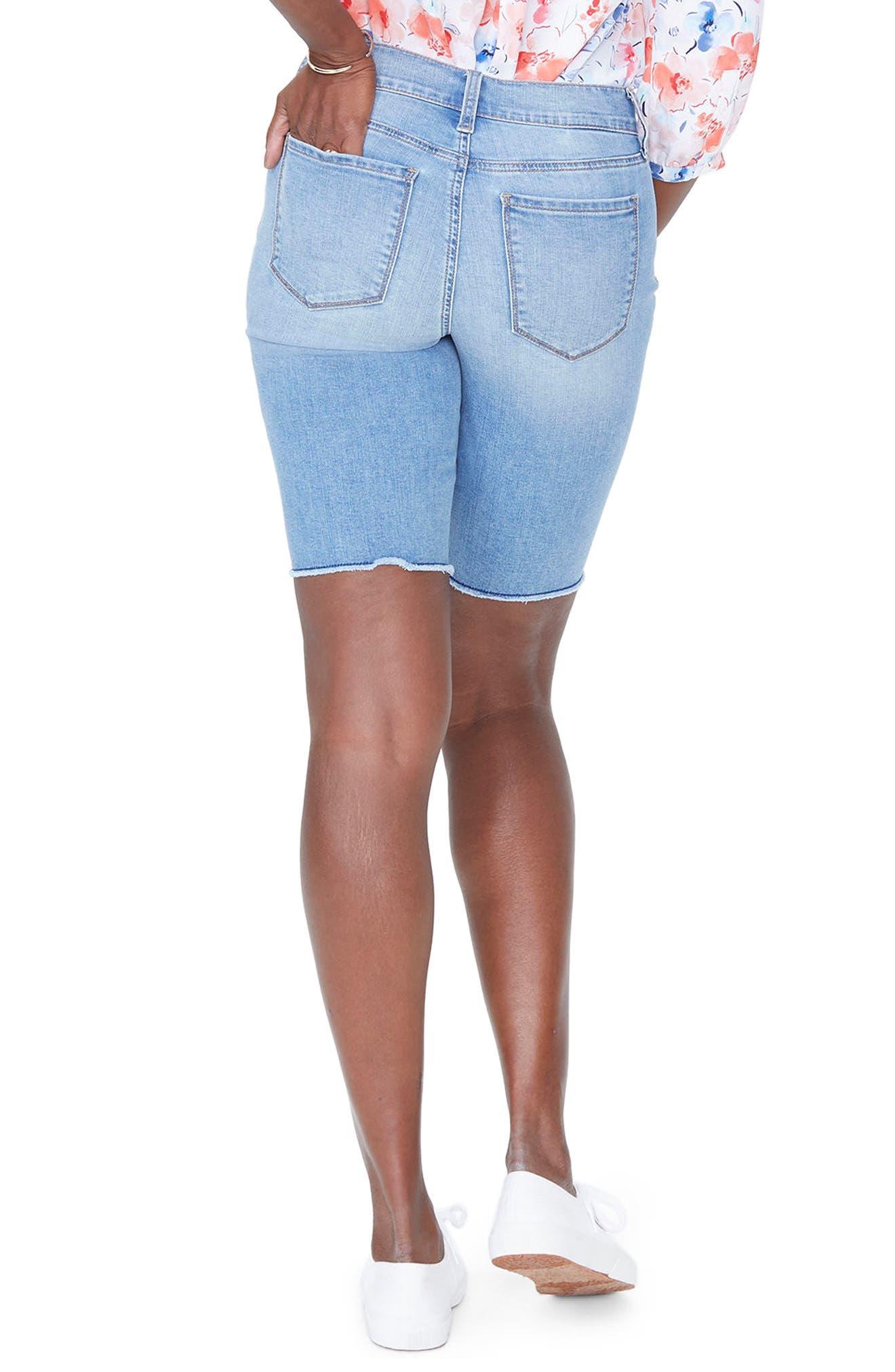Briella Frayed Hem Denim Bermuda Shorts,                             Alternate thumbnail 4, color,