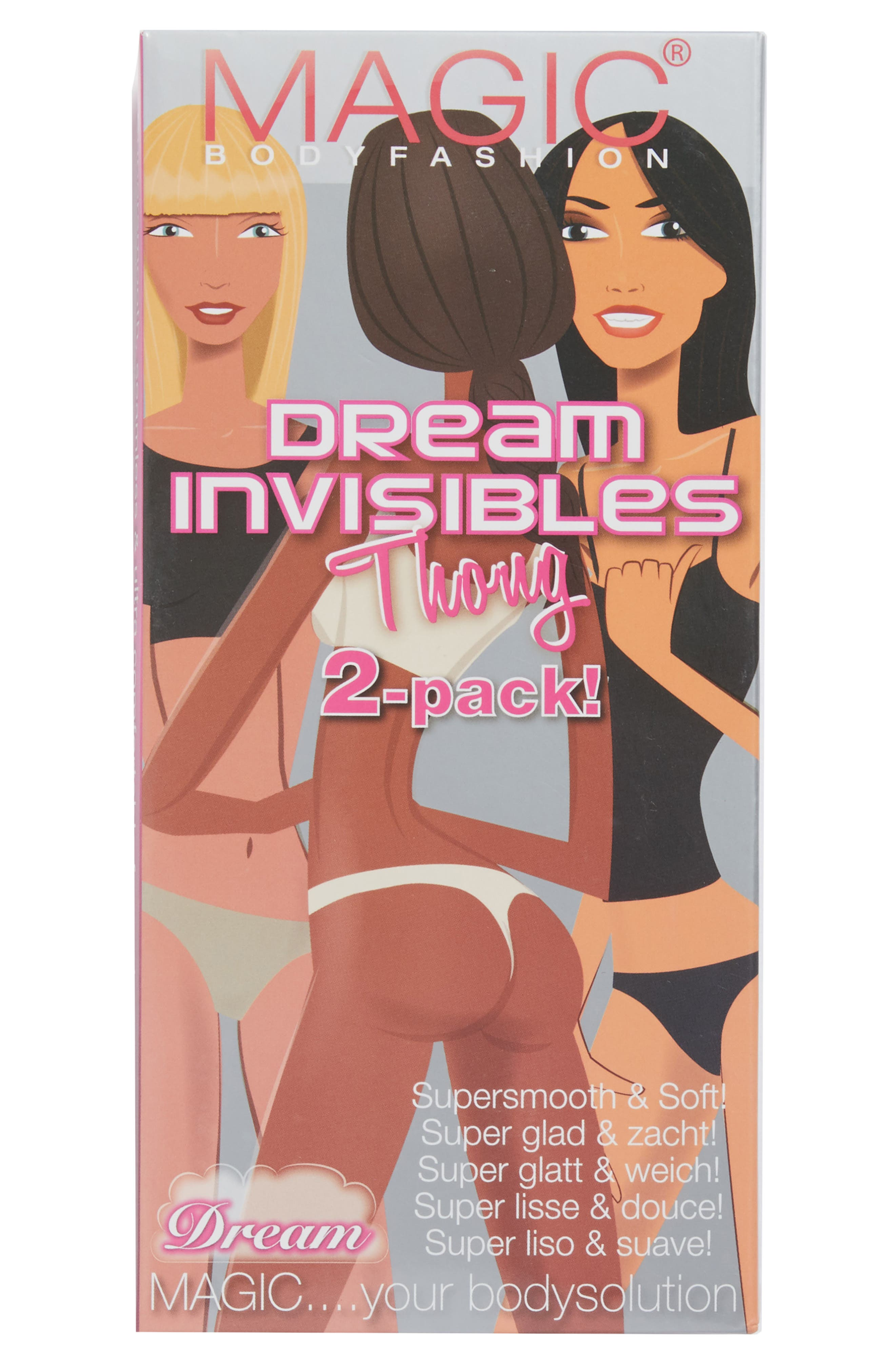 2-Pack Dream Invisibles Thongs,                             Alternate thumbnail 2, color,                             SNOW WHITE