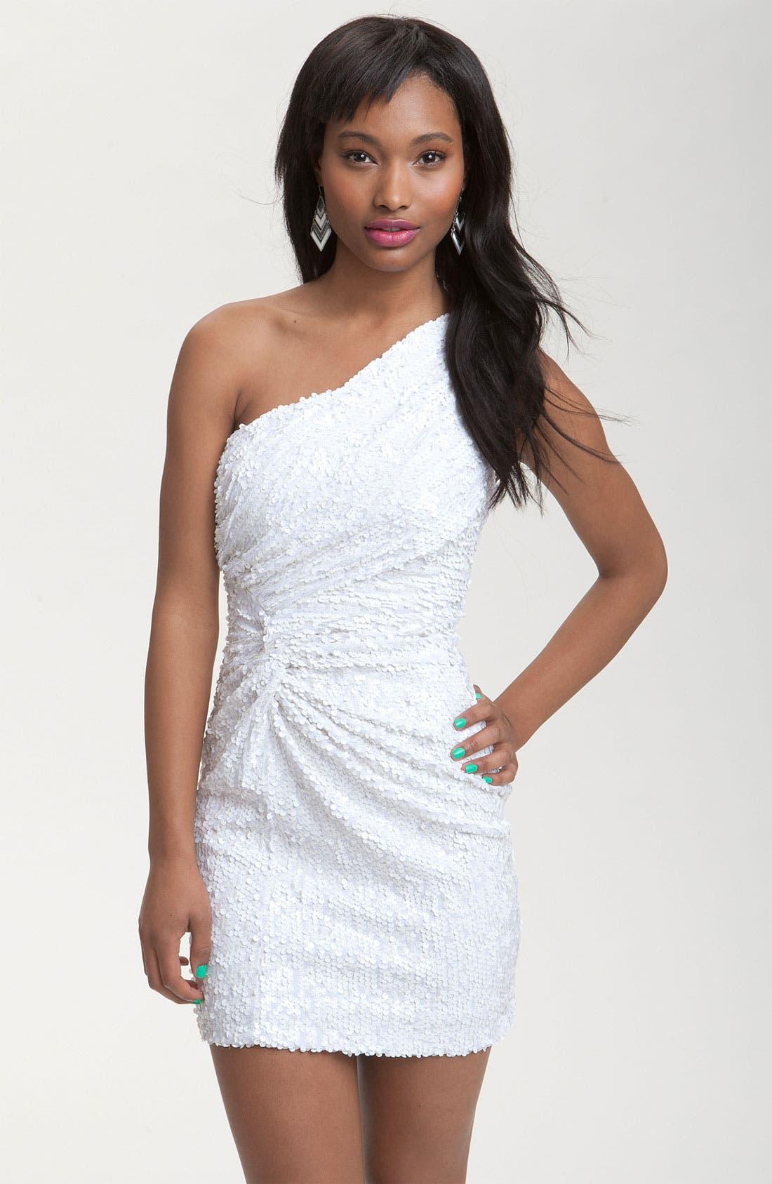 One Shoulder Sequin Knot Dress, Main, color, 100