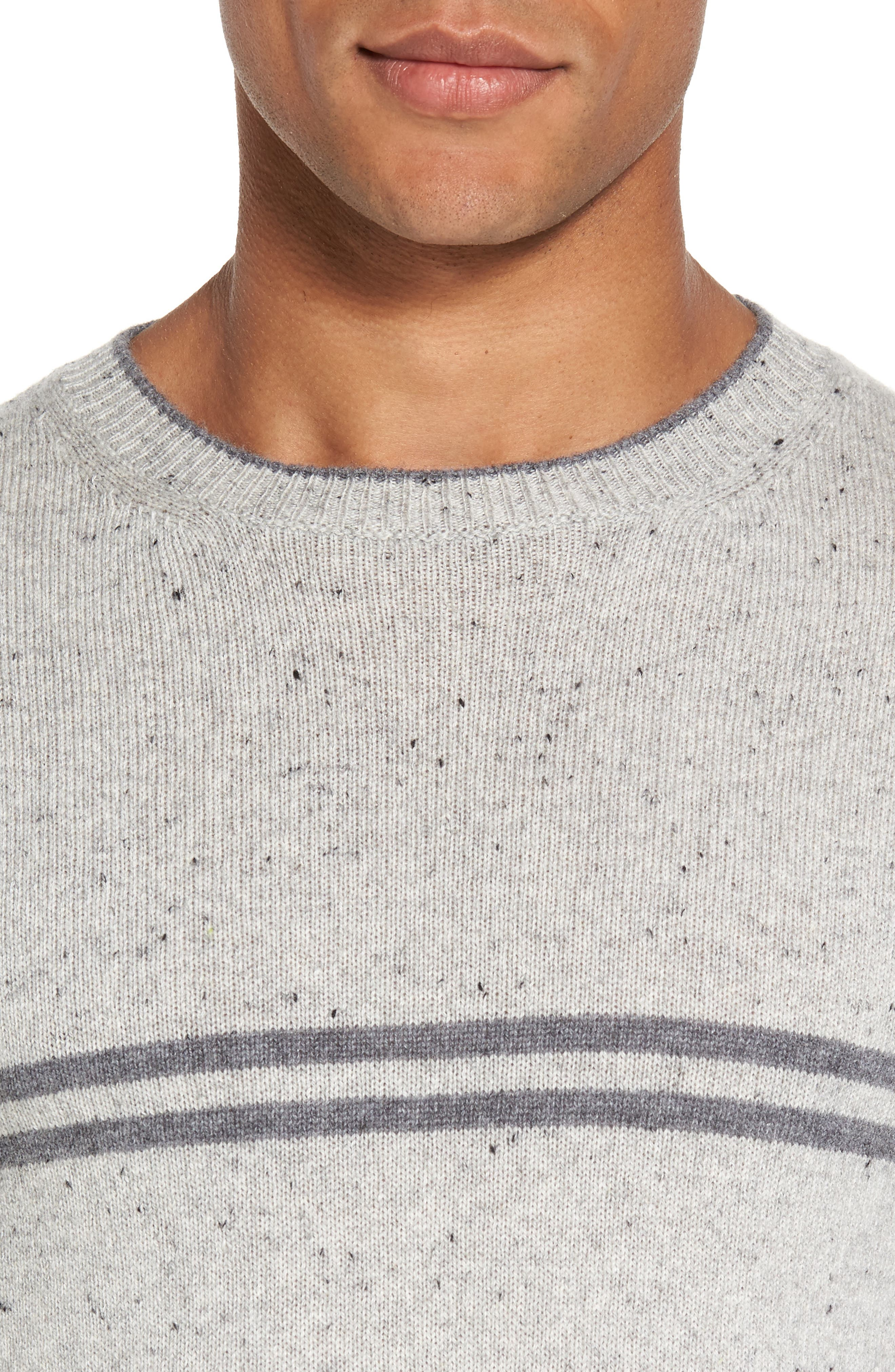 Donegal Stripe Cashmere Sweater,                             Alternate thumbnail 4, color,                             020