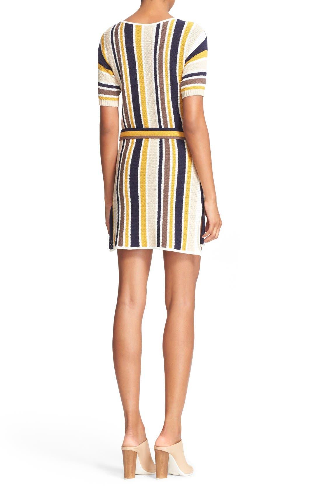 'Le Lace Up' Stripe Shirt Dress,                             Alternate thumbnail 4, color,                             120