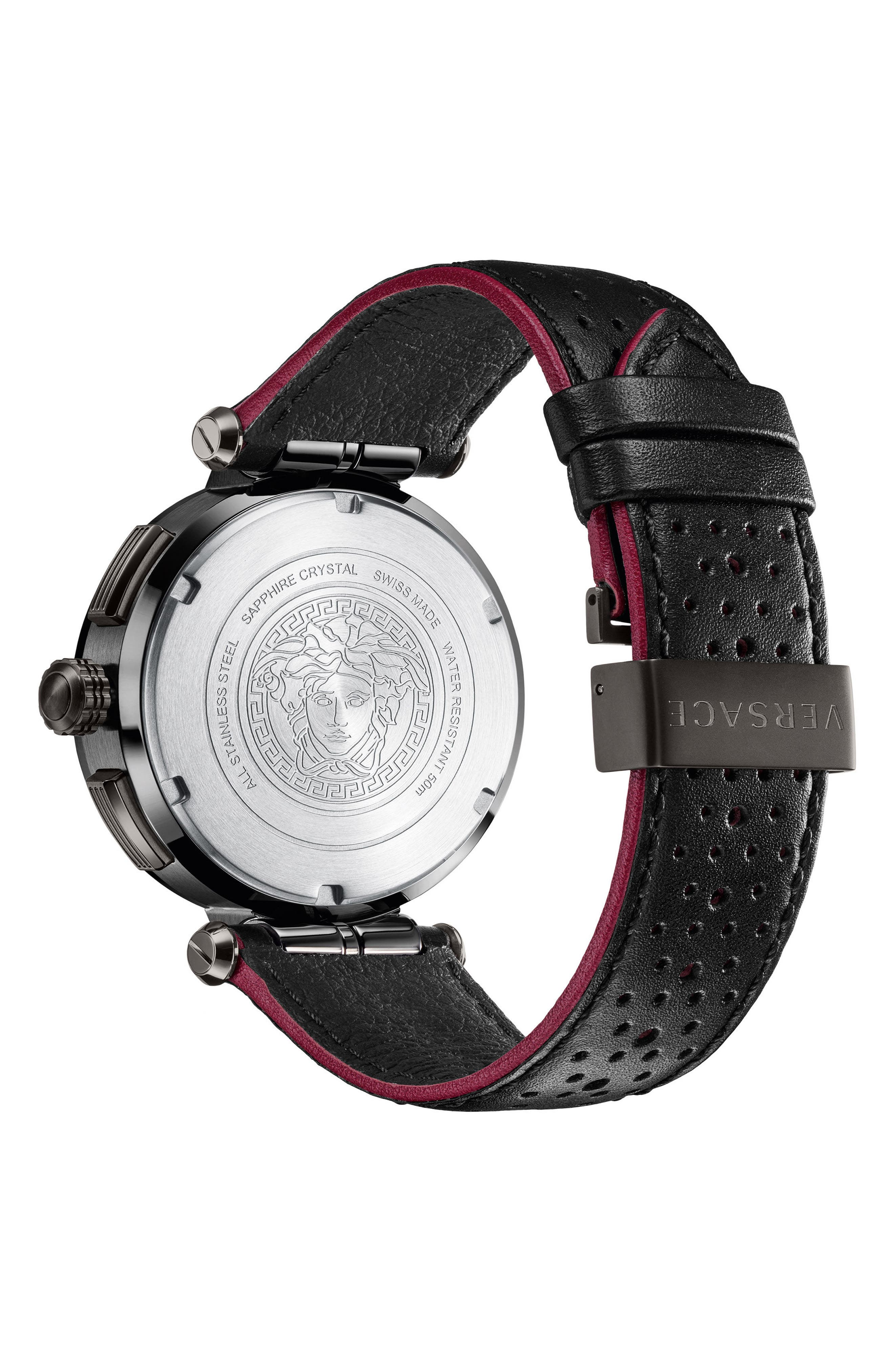Aion Chronograph Leather Strap Watch, 45mm,                             Alternate thumbnail 2, color,                             BLACK