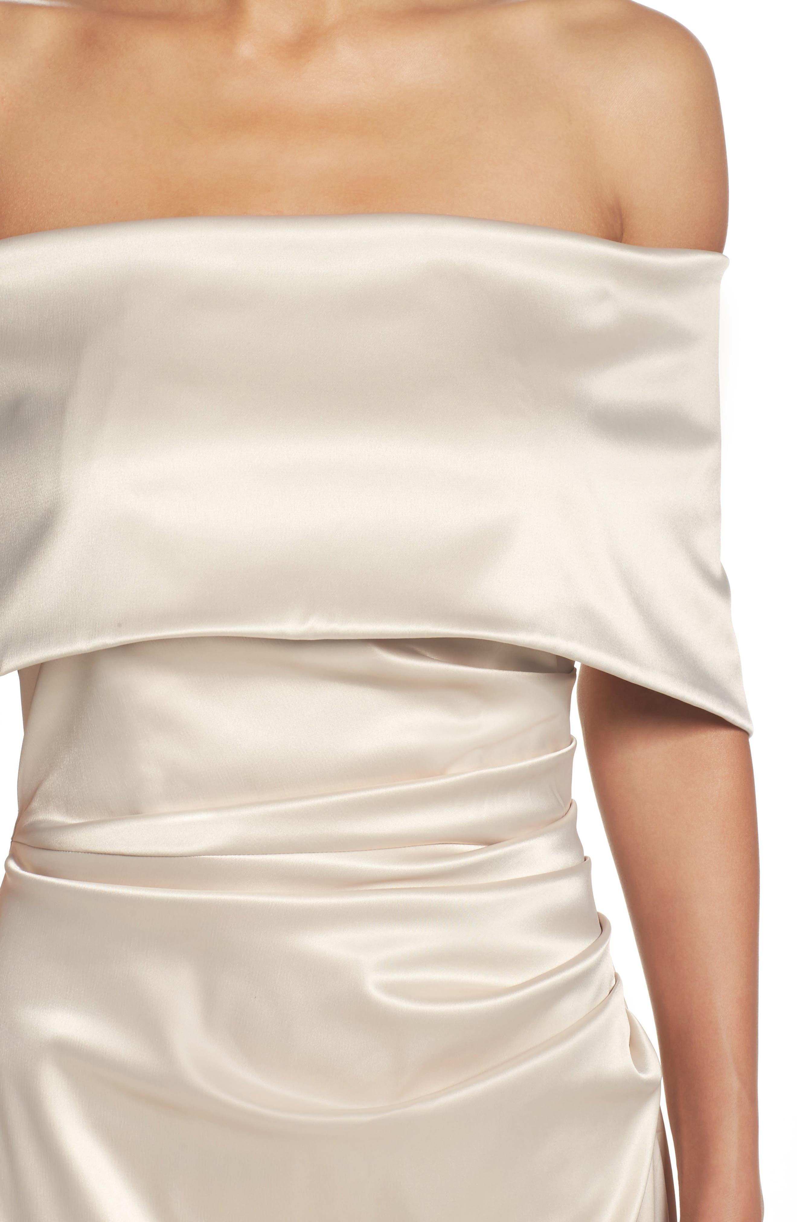 Off the Shoulder Gown,                             Alternate thumbnail 4, color,                             CHAMPAGNE