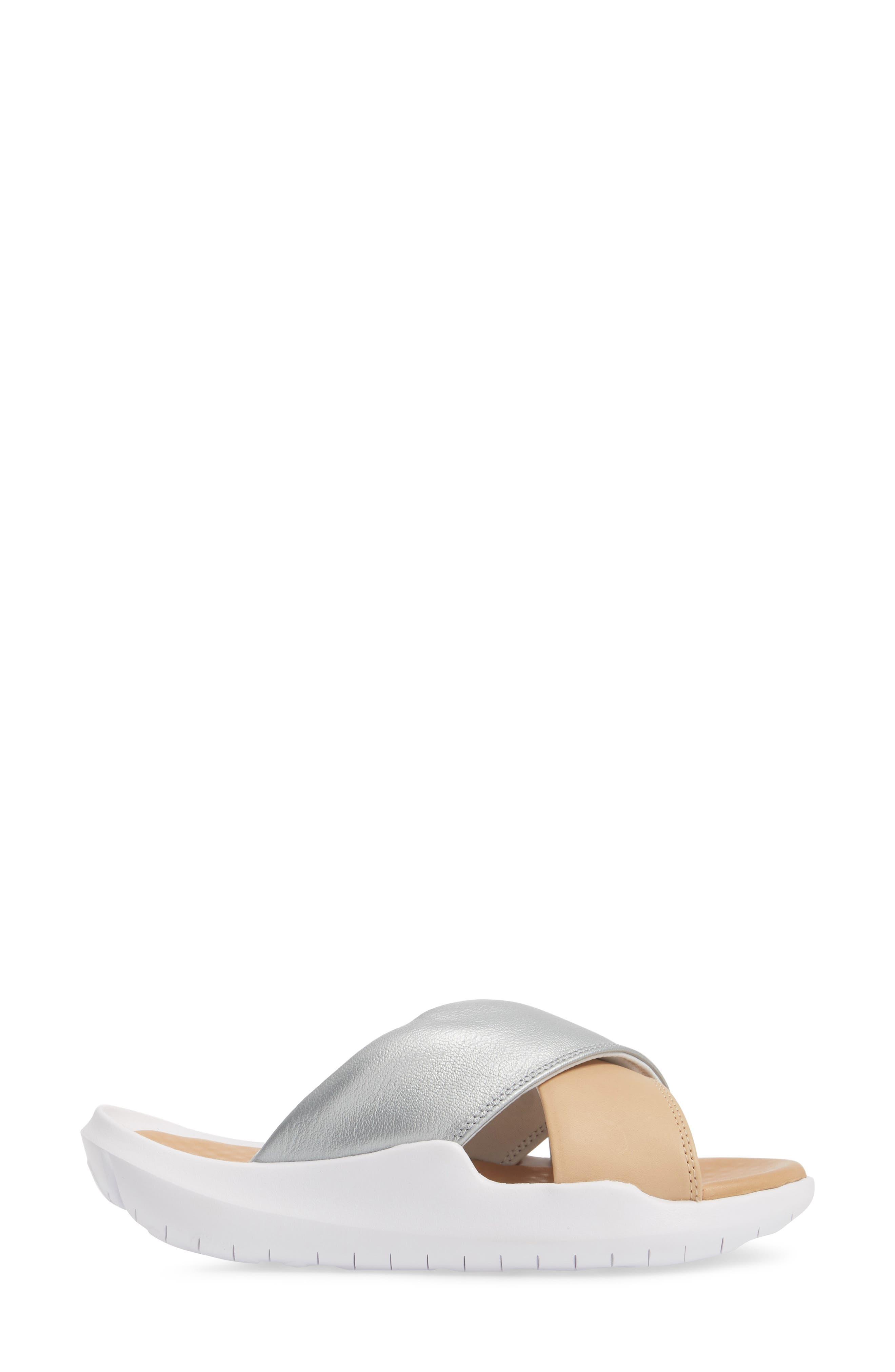 Nordstrom x Nike Benassi Future Cross SE Premium Slide,                             Alternate thumbnail 3, color,                             METALLIC SILVER/ BIO BEIGE