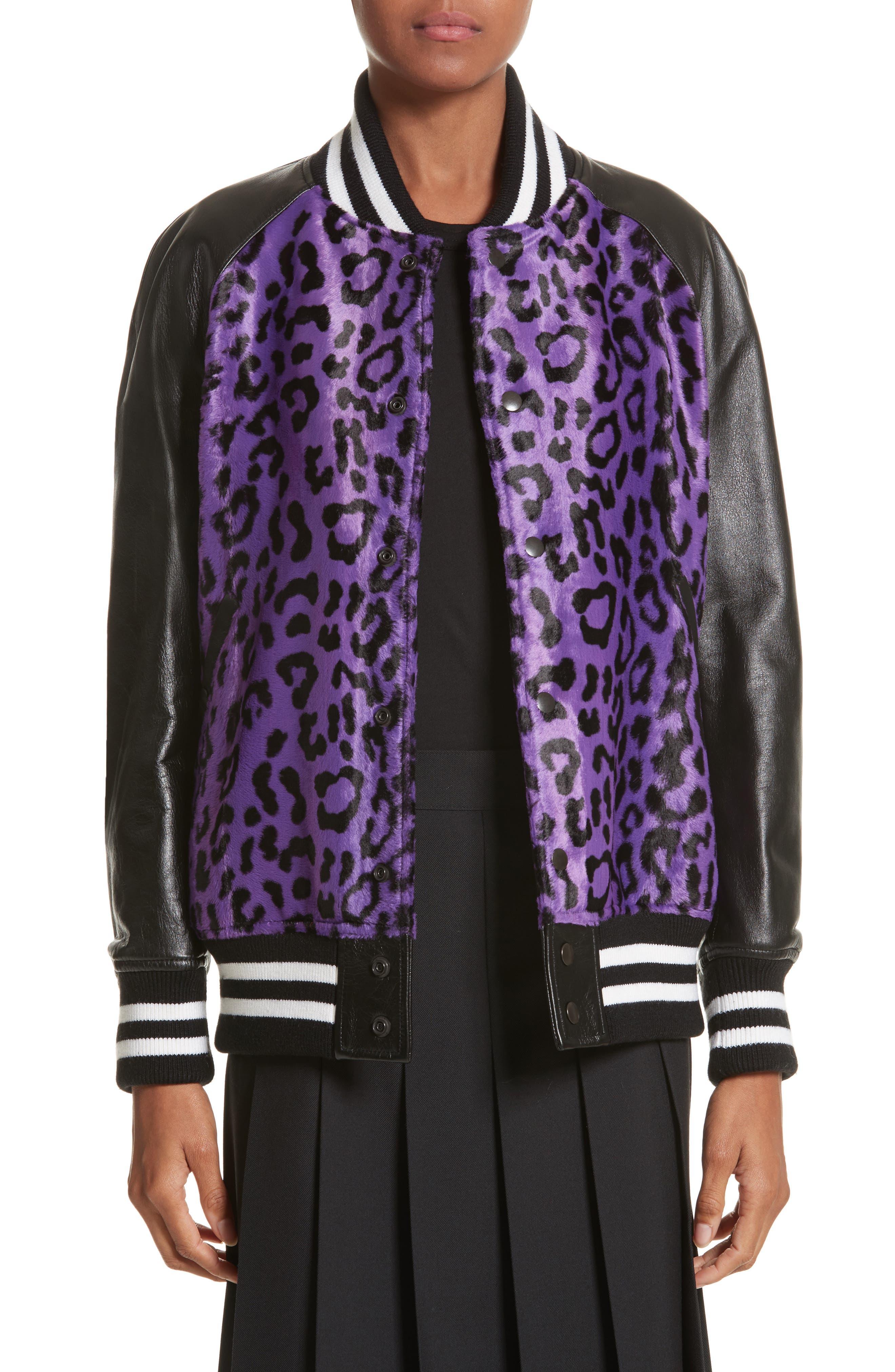 Cheetah Print Faux Fur & Leather Track Jacket,                             Main thumbnail 1, color,                             540