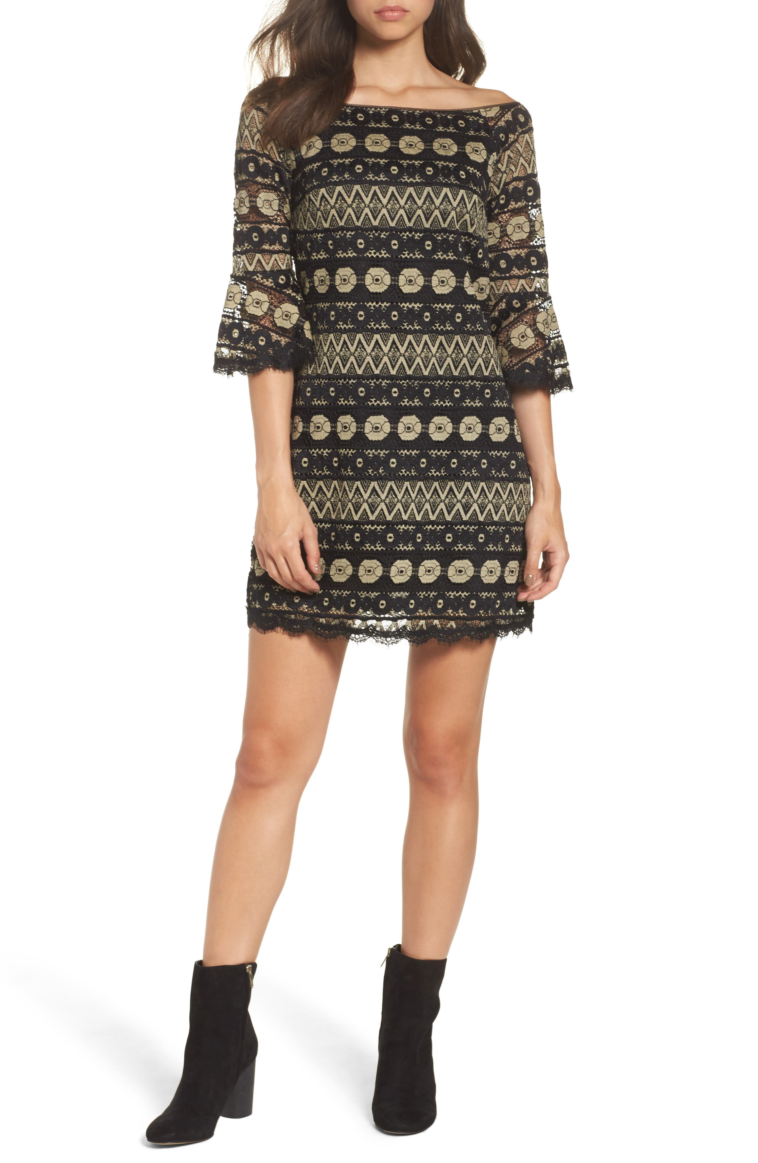 Off the Shoulder Lace Dress,                         Main,                         color, 001
