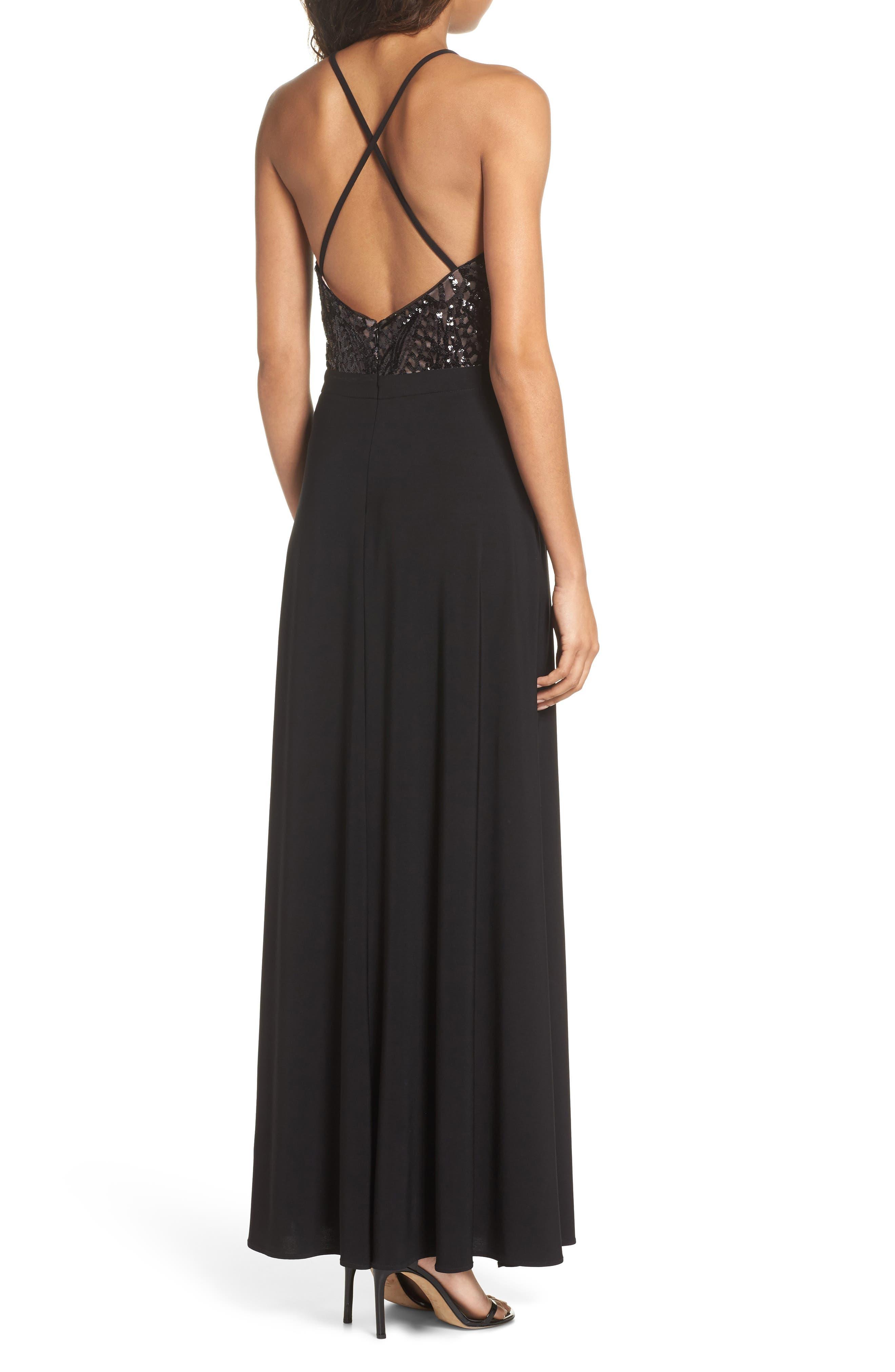 Sequin Halter Gown,                             Alternate thumbnail 2, color,                             BLACK/ NUDE