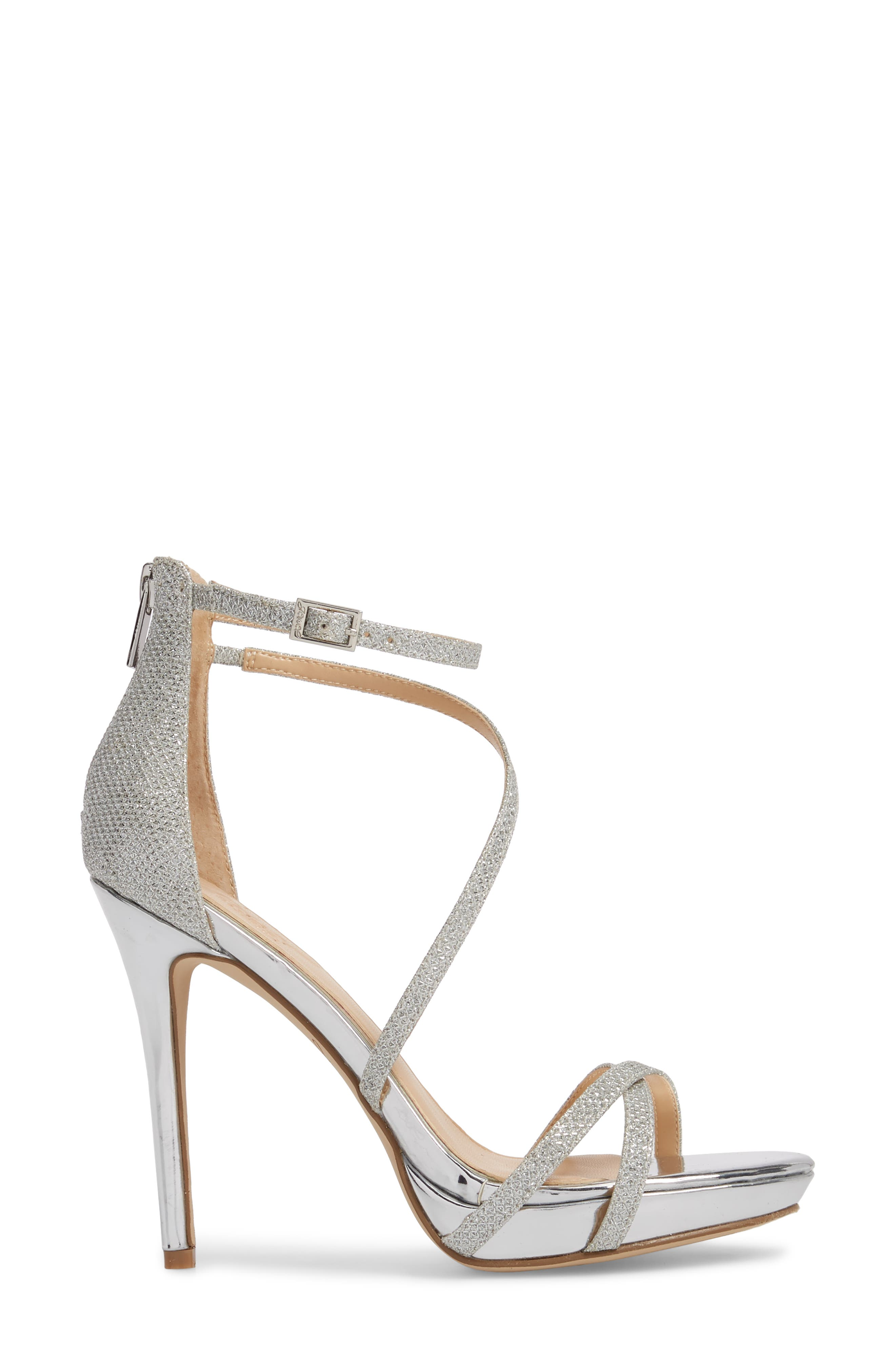 Galen Strappy Platform Sandal,                             Alternate thumbnail 3, color,                             SILVER GLITTER FABRIC