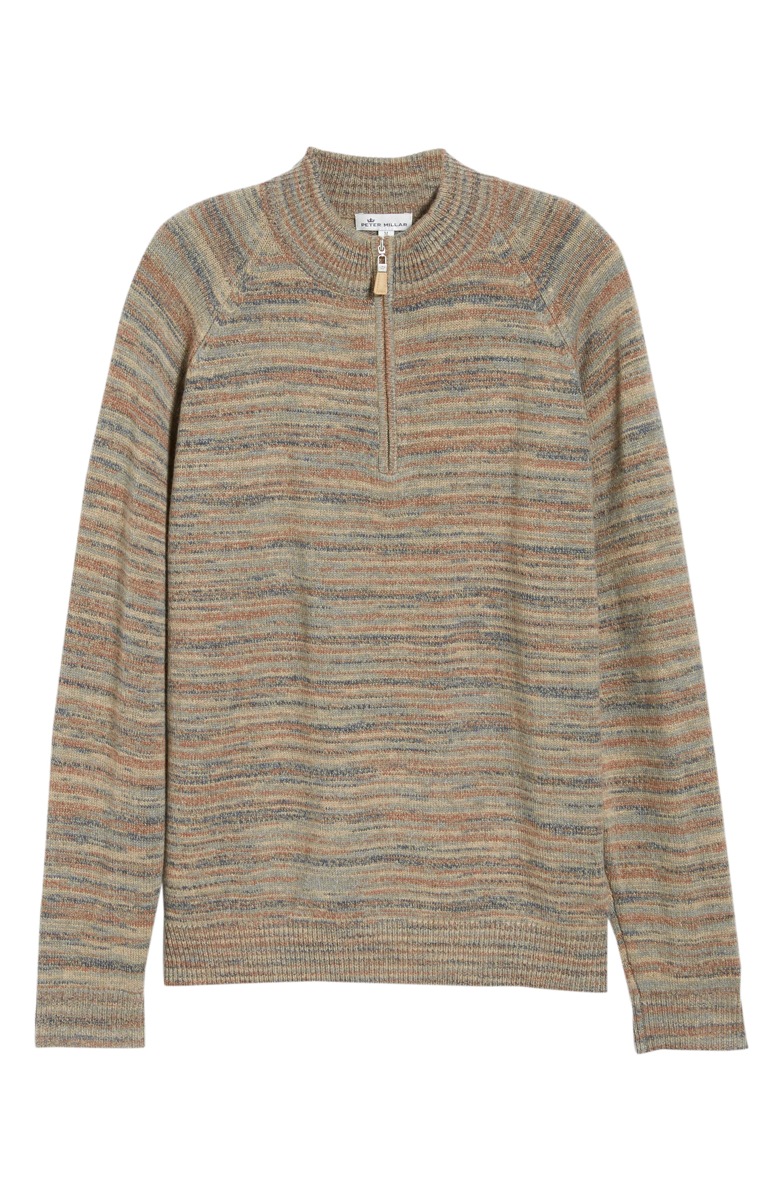Twisted Cashmere Quarter Zip Sweater,                             Alternate thumbnail 6, color,                             BEIGE