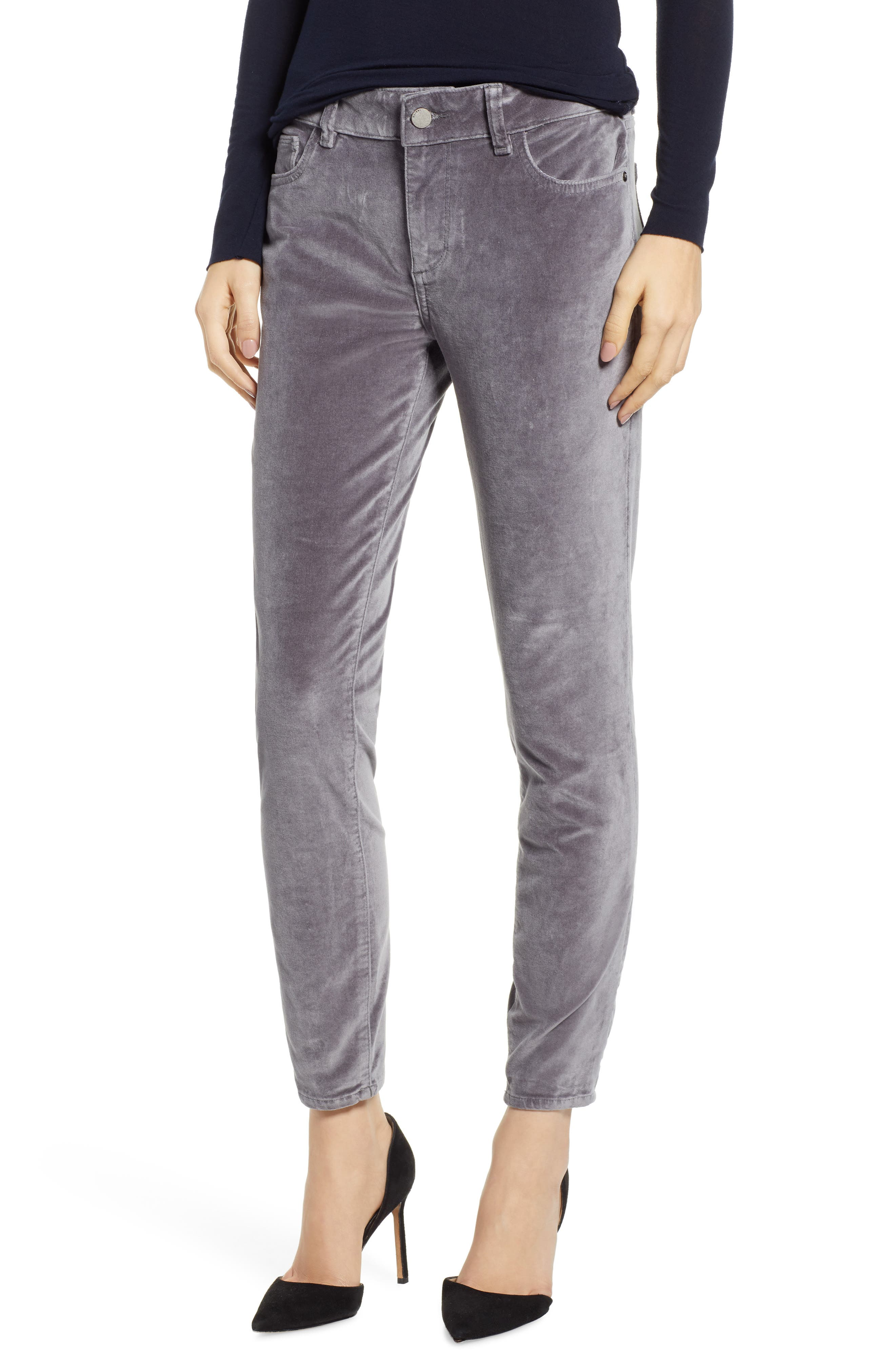 Florence Instasculpt Velveteen Ankle Skinny Jeans,                         Main,                         color, SILVER SPRING