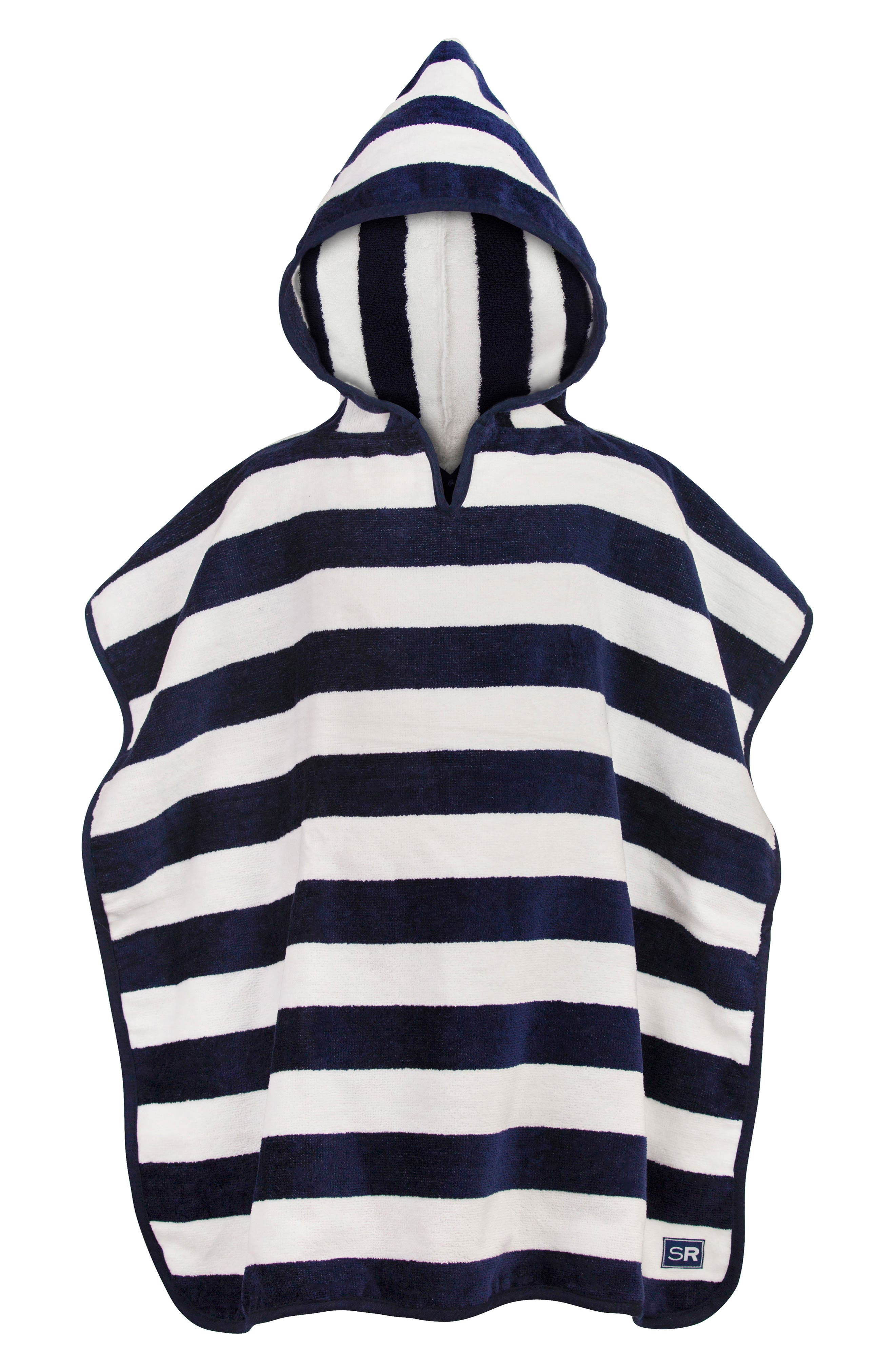 SNAPPER ROCK,                             Navy Striped Hooded Towel,                             Main thumbnail 1, color,                             NAVY
