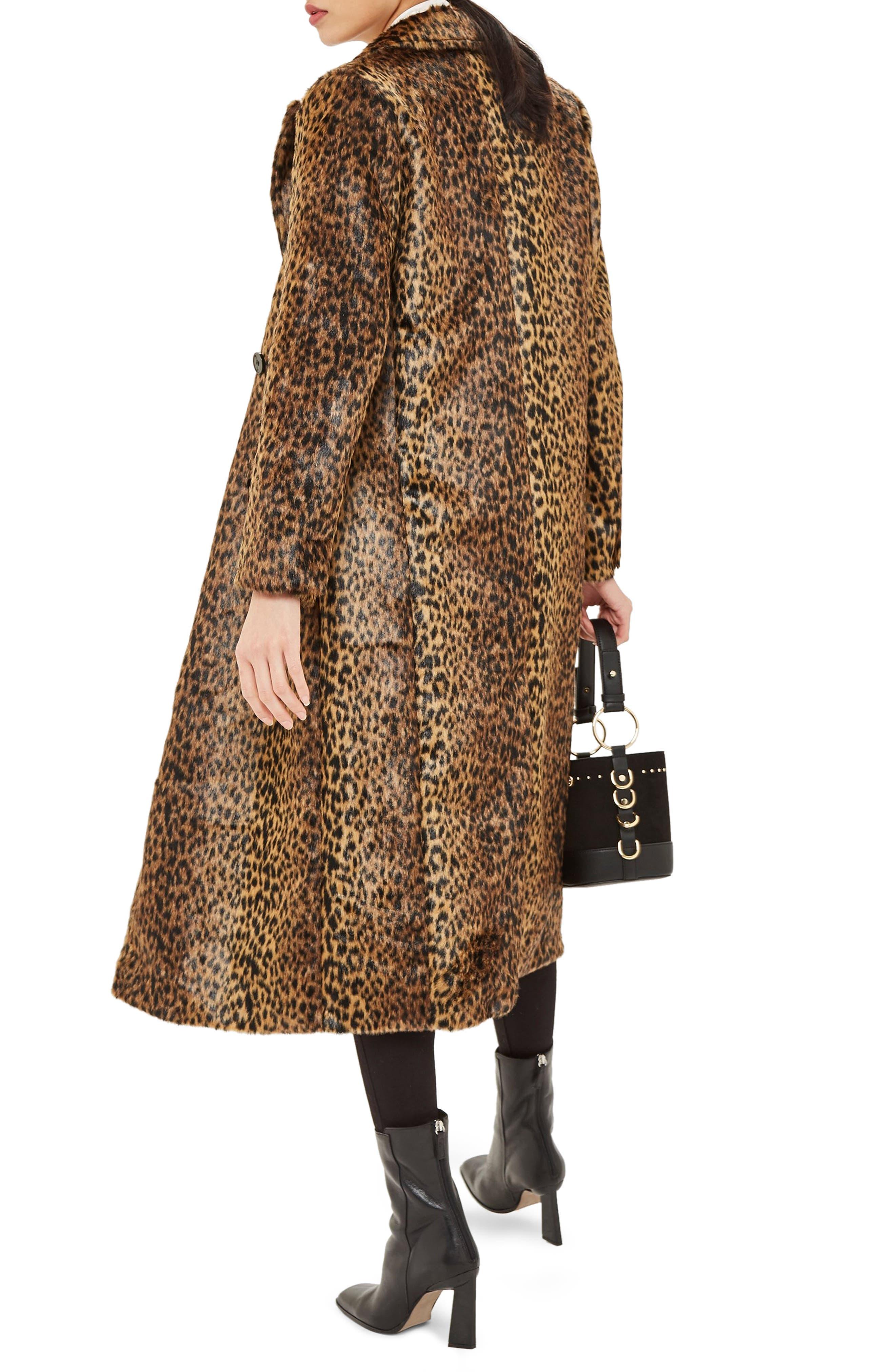 TOPSHOP,                             Toni Faux Fur Leopard Long Coat,                             Alternate thumbnail 2, color,                             200