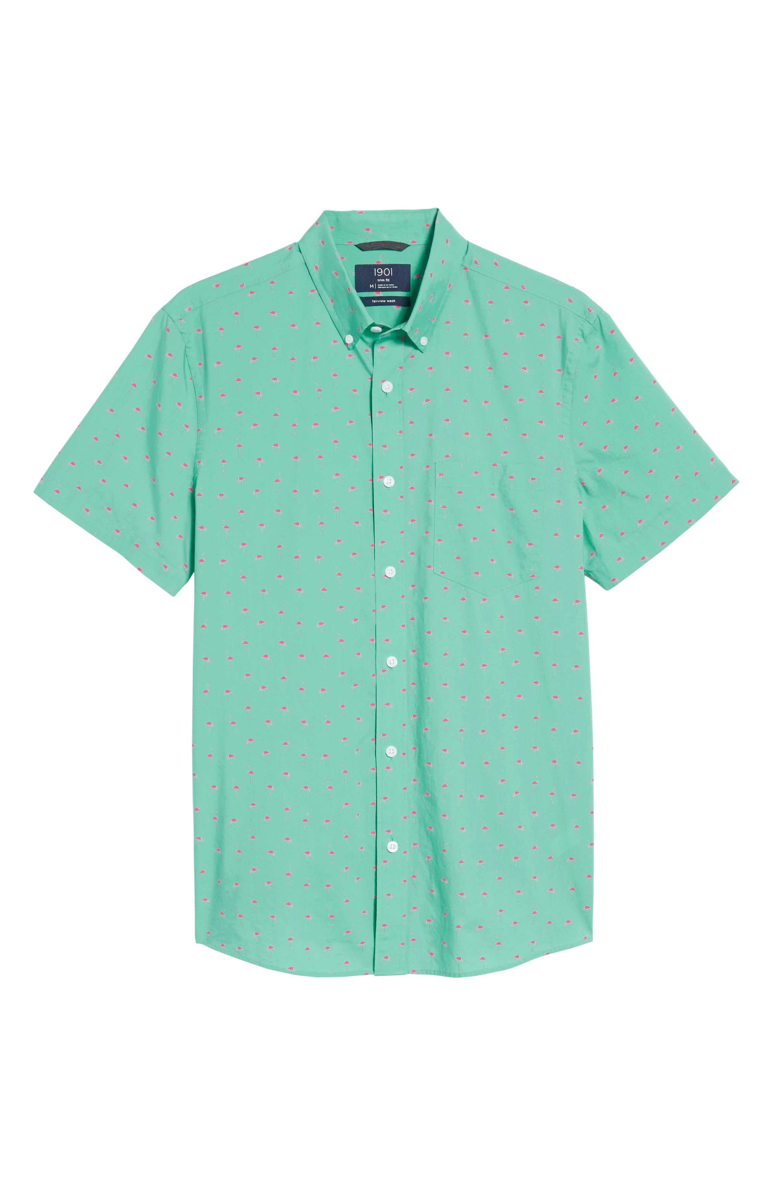Slim Fit Flamingo Print Sport Shirt,                             Alternate thumbnail 6, color,                             310