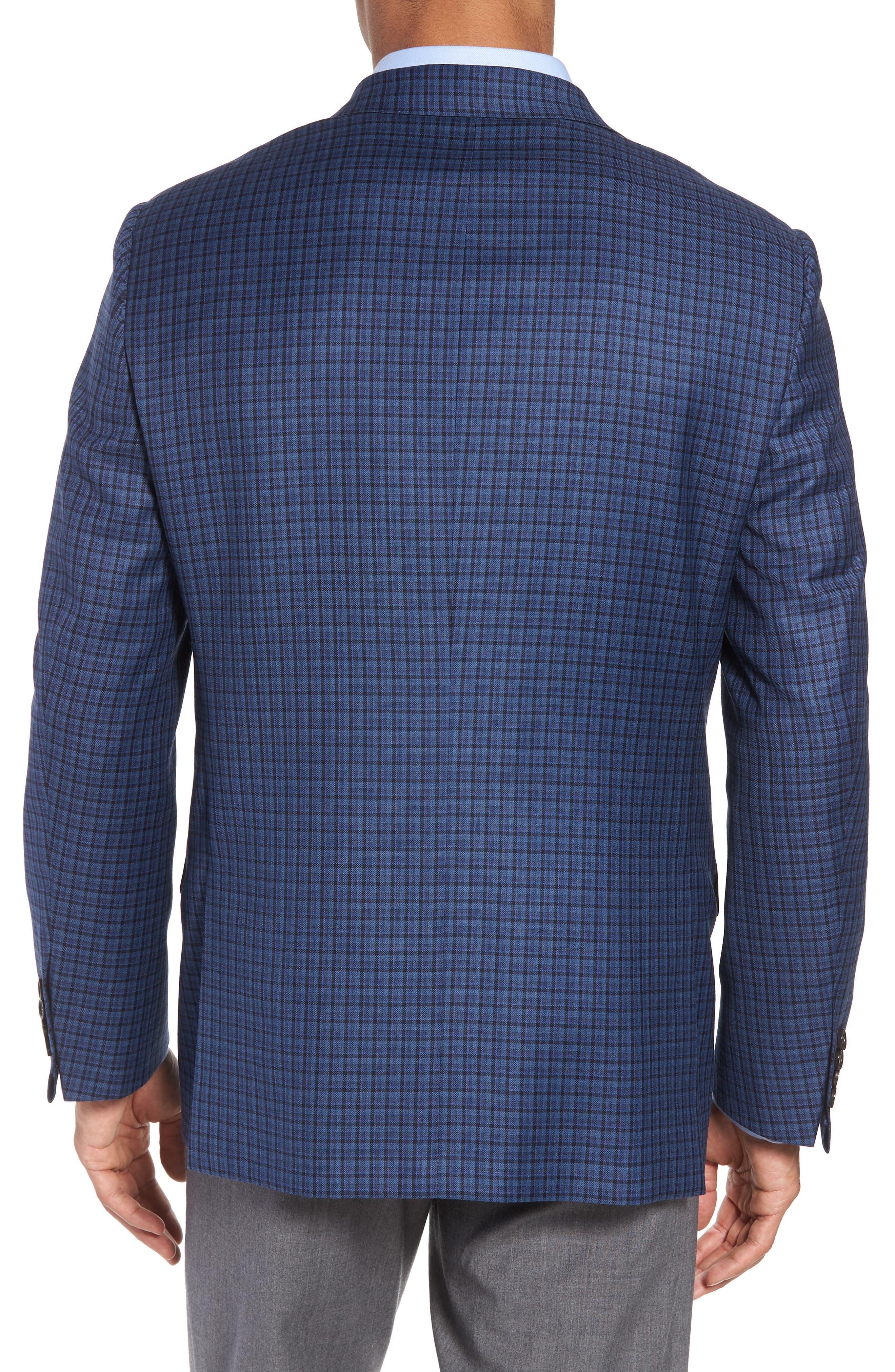 Classic B Fit Check Wool Sport Coat,                             Alternate thumbnail 2, color,                             BLUE PLAID
