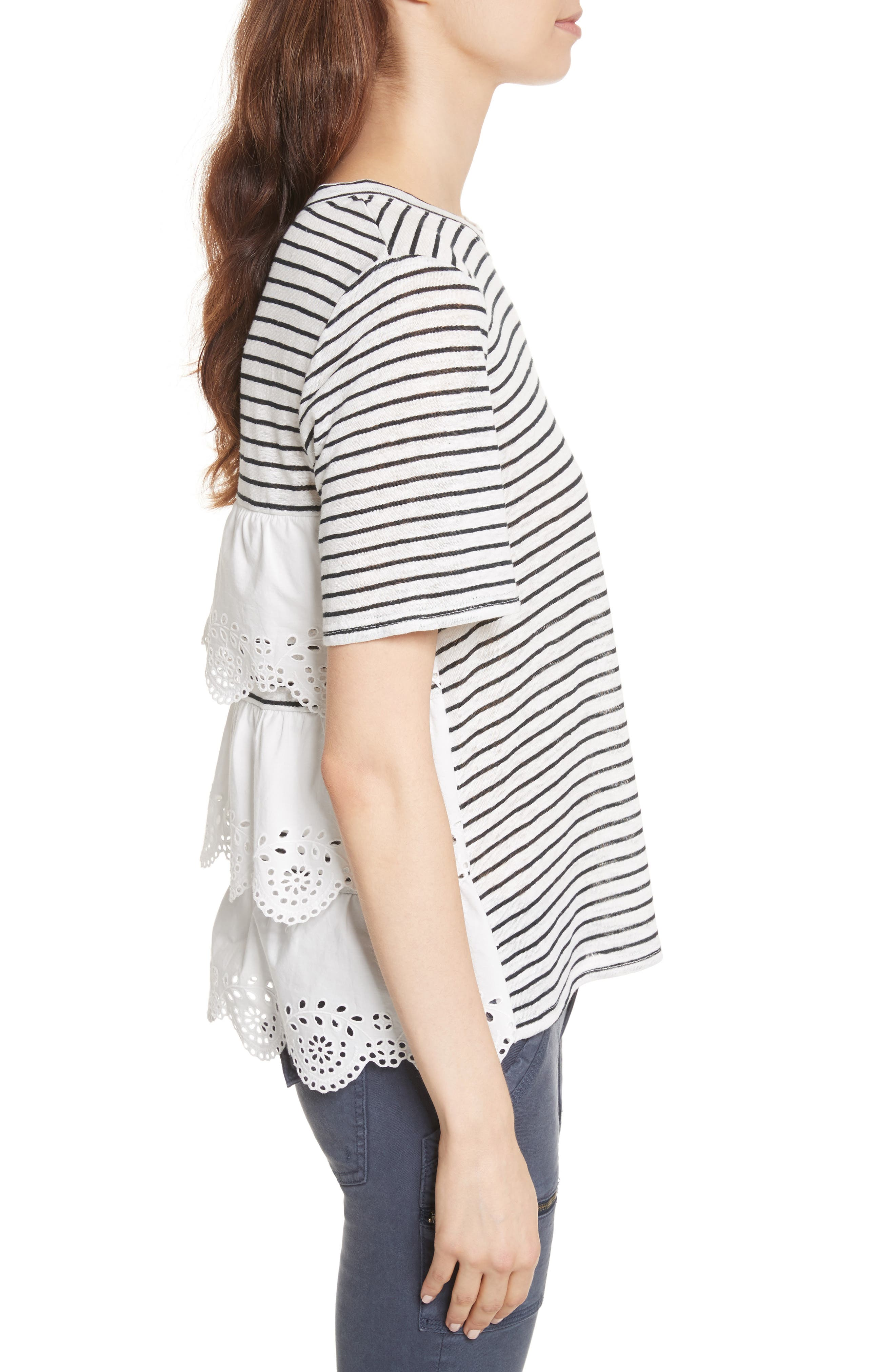 Mikiyo Stripe Linen Tee,                             Alternate thumbnail 3, color,                             131