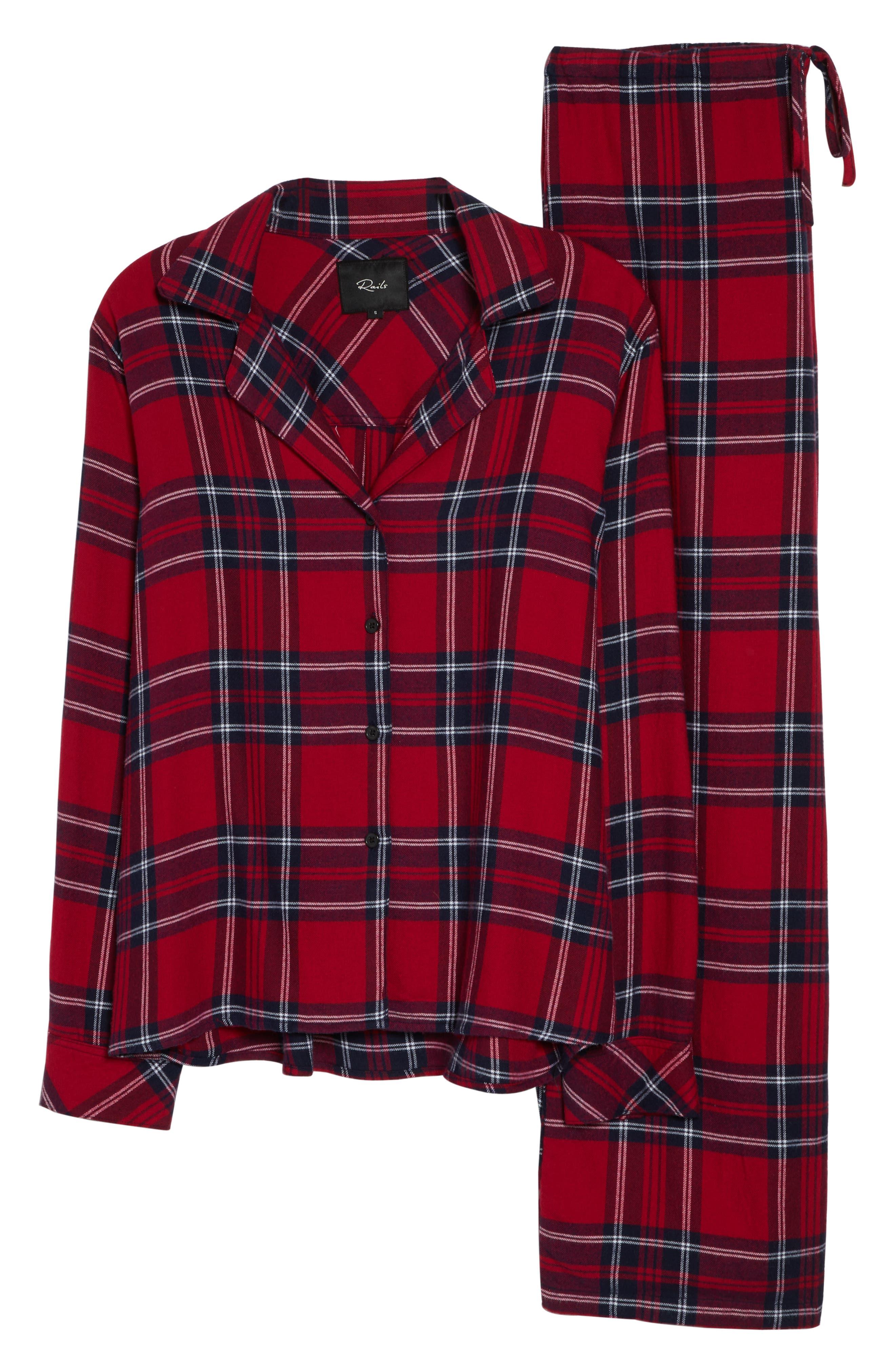Plaid Pajamas,                             Alternate thumbnail 6, color,                             SCARLET NAVY WHITE