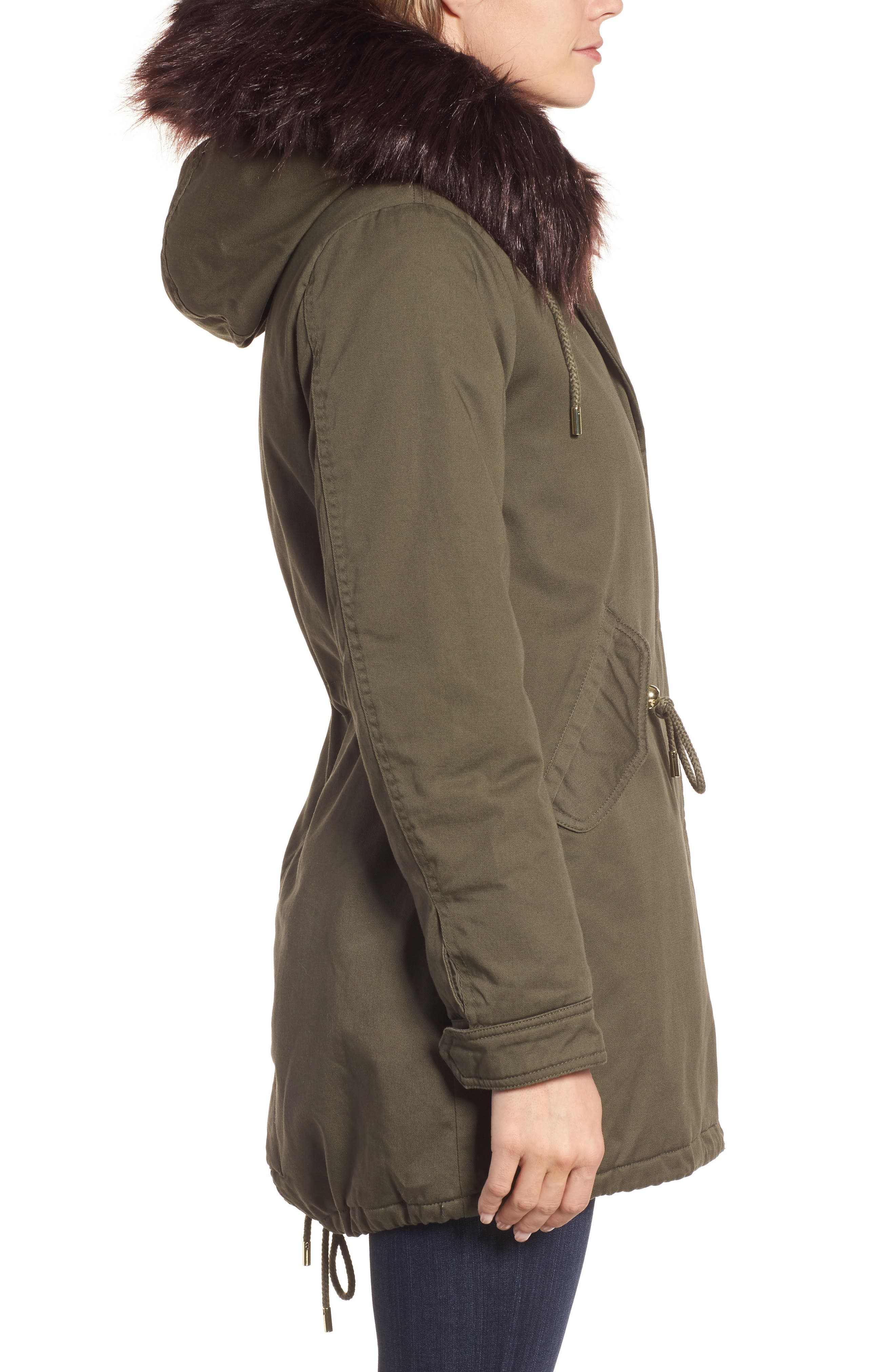 Faux Fur Lined Twill Parka,                             Alternate thumbnail 3, color,                             315