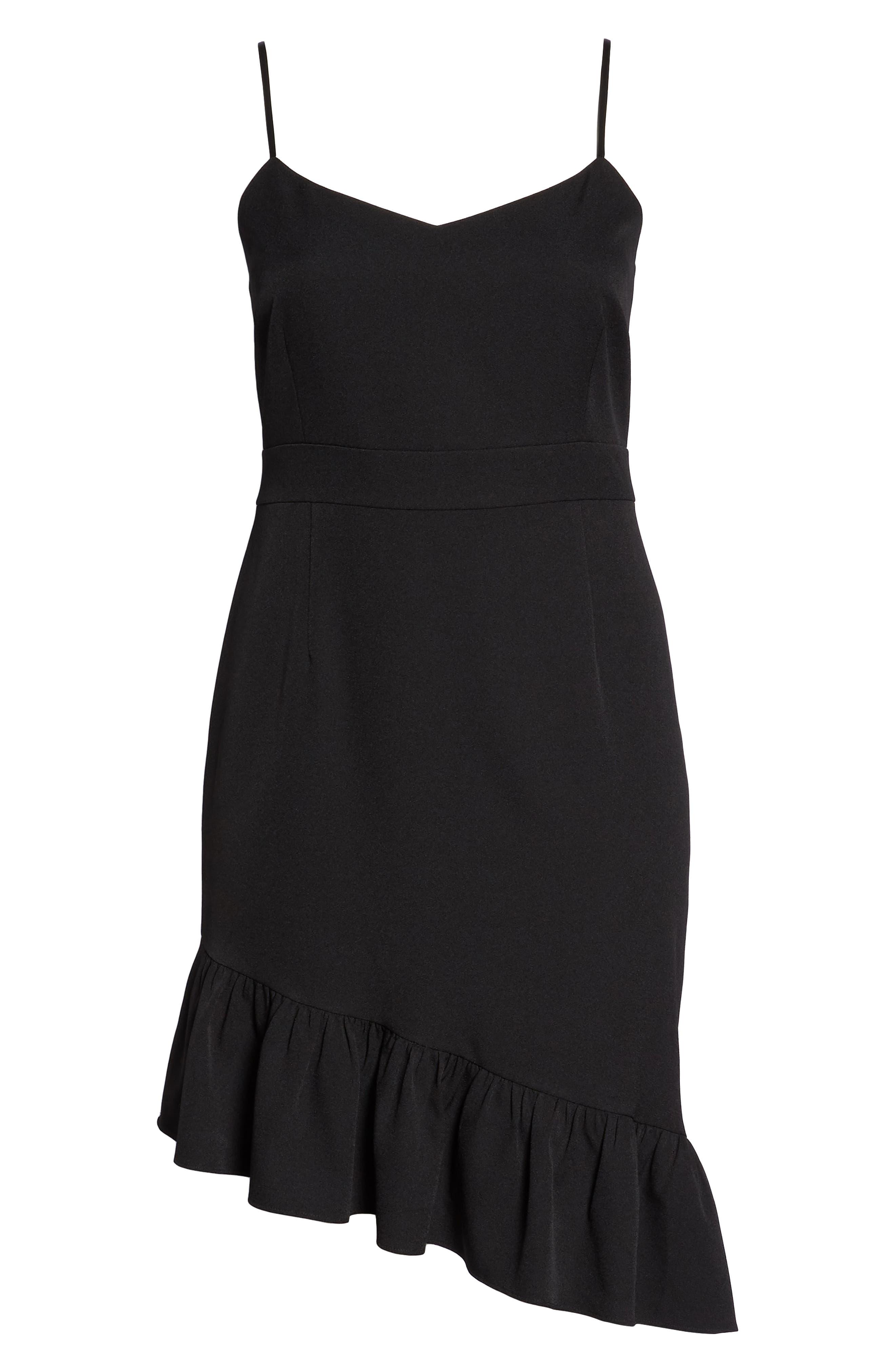 Asymmetric Ruffle Hem Dress,                             Alternate thumbnail 13, color,                             001